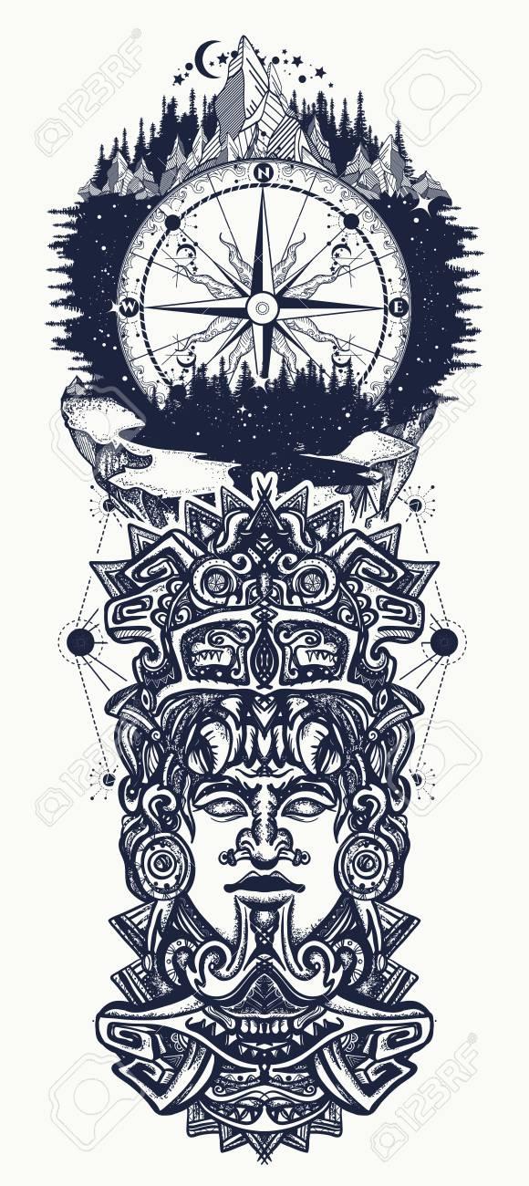 Tótem Montañas Y Brújula Aztecas Antiguos Dios Mexicano La Antigua