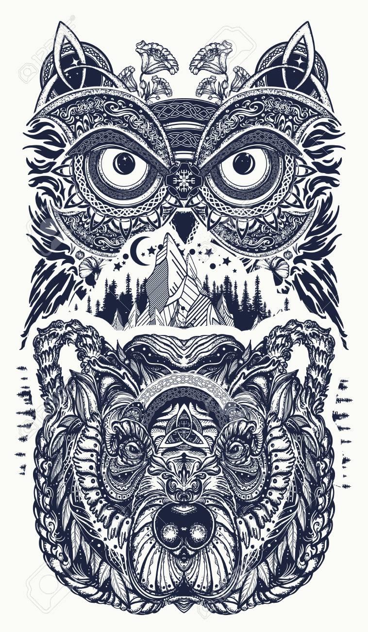 Arte Del Tatuaje De Búho Y Oso Búho Montañas En Diseño étnico De