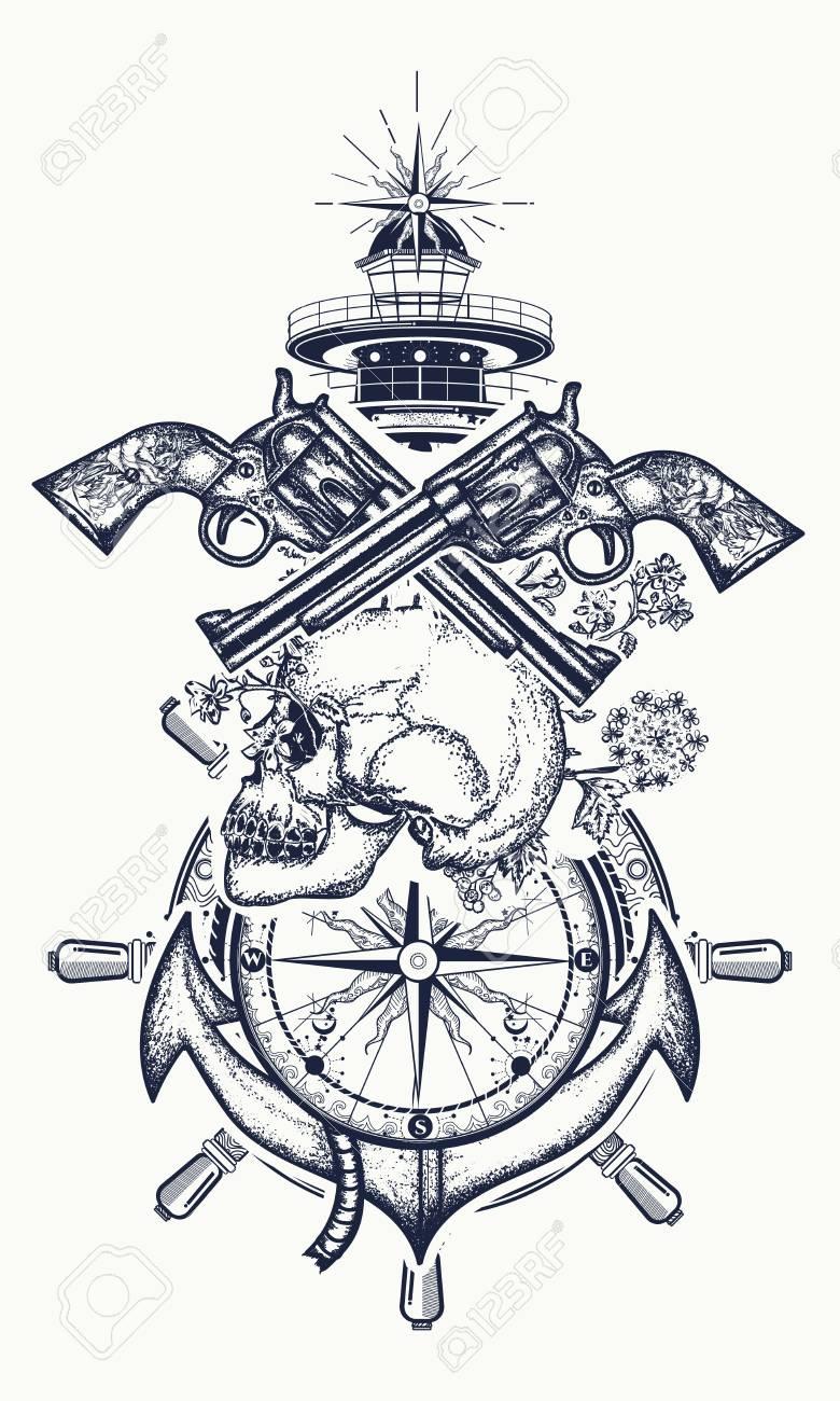 Crane Et Pistolets Ancre Volant Boussole Phare Art De Tatouage Symbole De L Aventure Maritime Pirate Criminel T Shirt De Crane De Pirate Revolver Ancre Et Phare Clip Art Libres De Droits Vecteurs