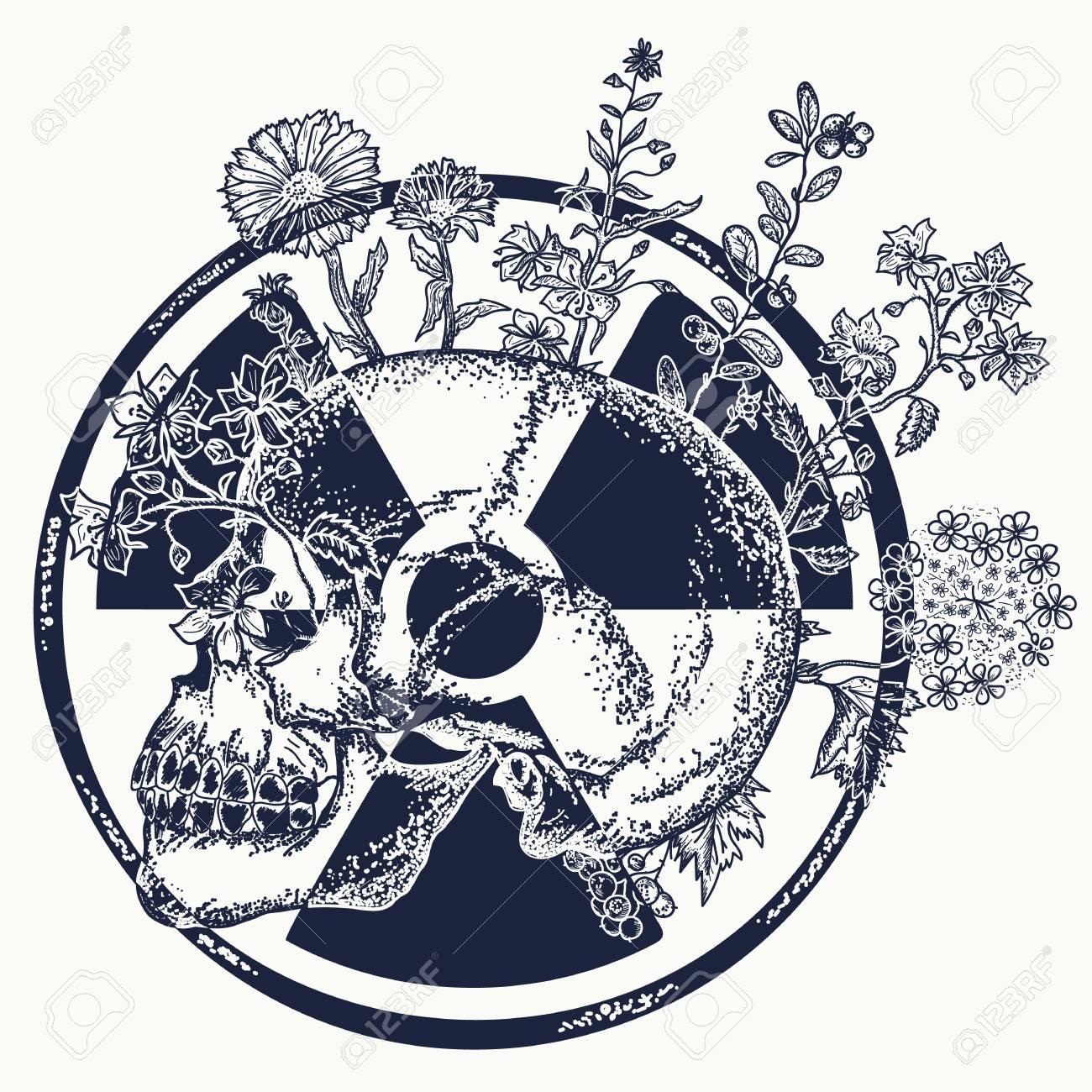 Atomic Skull Tattoo And T Shirt Design Symbol Of Nuclear War