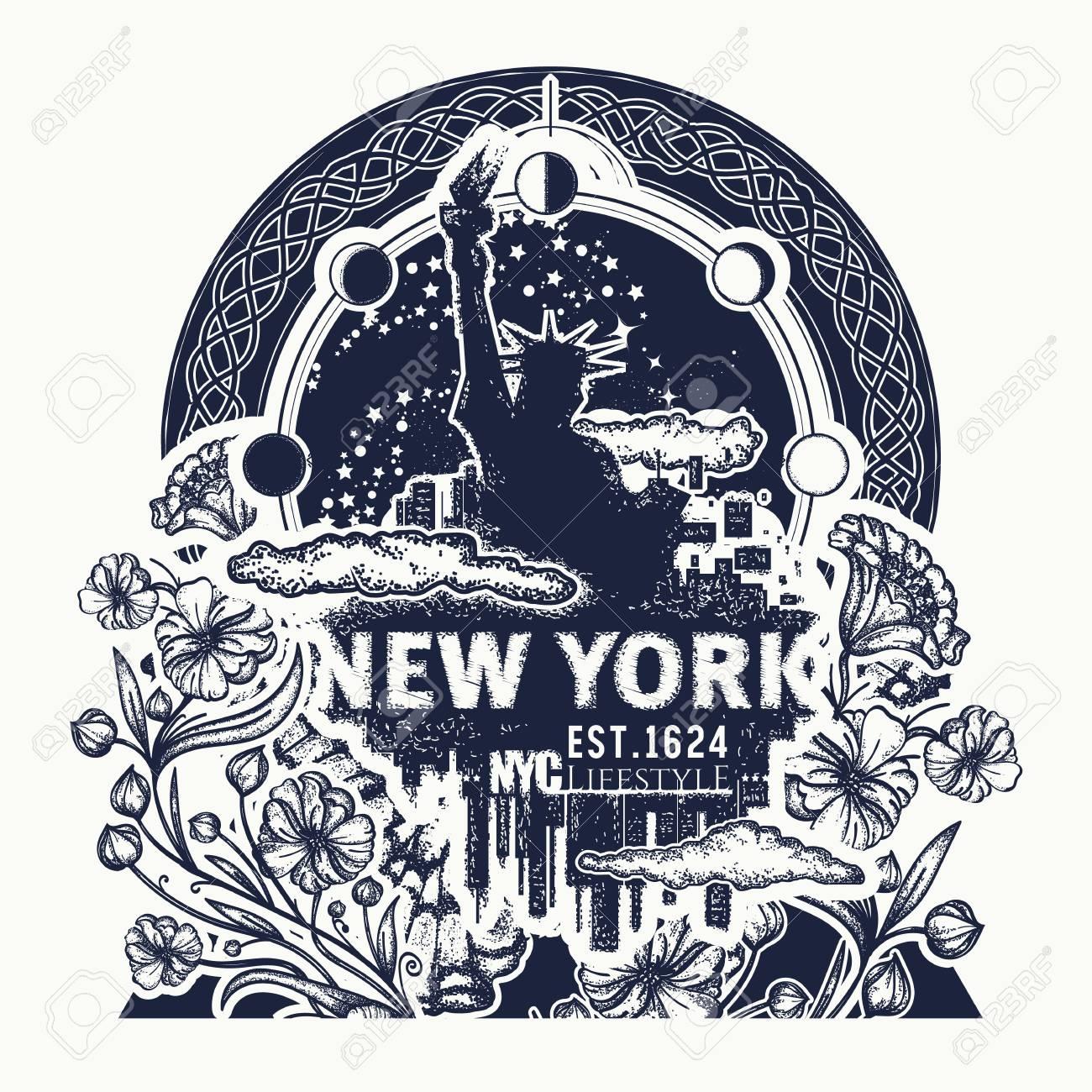 Statue De La Liberte New York Et Tatouage De Fleur Art Nouveau Et