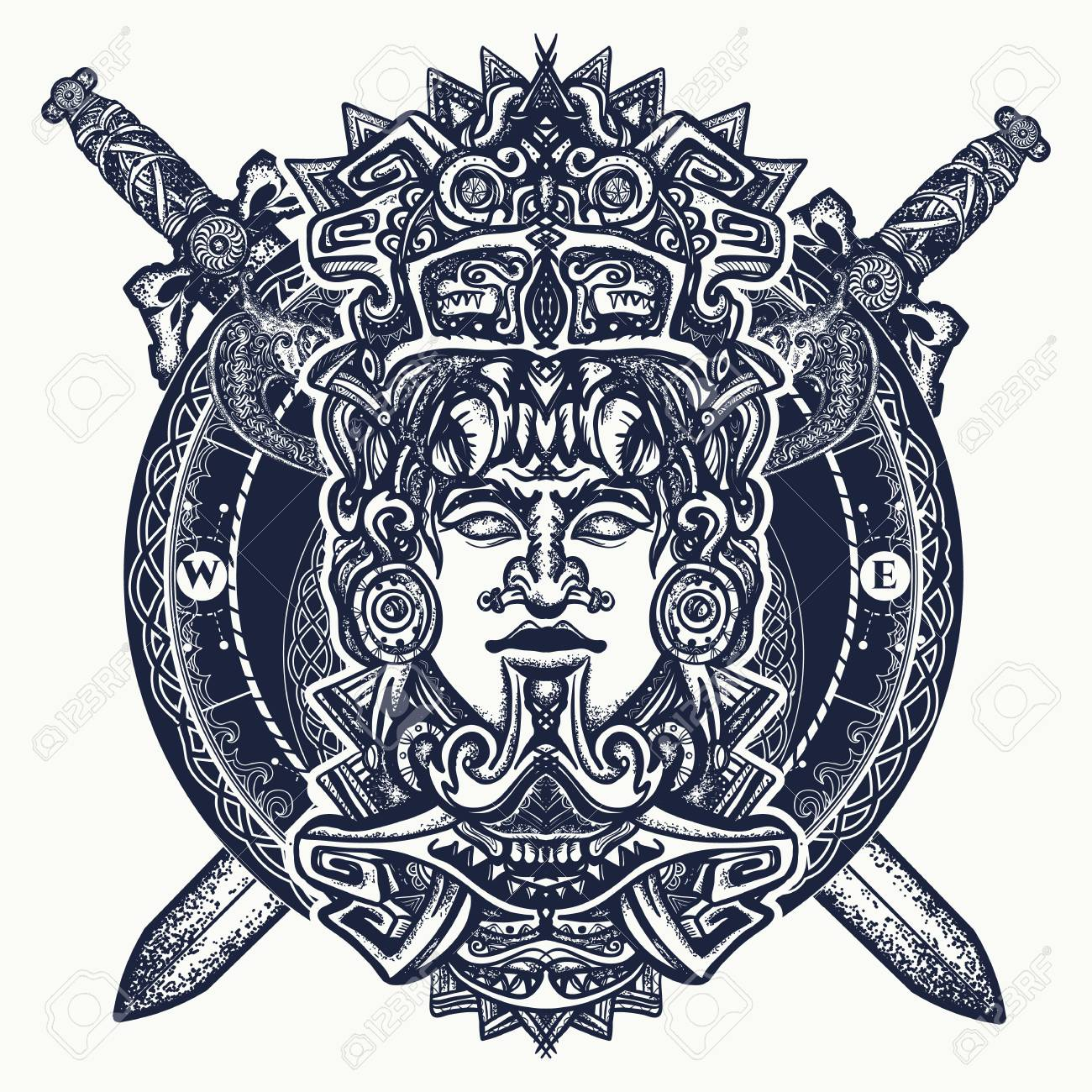 Ancient aztec totem, Mexican god warrior and crossed swords. Ancient Mayan civilization. Indian mayan carved in stone tattoo art. Mayan tattoo and t-shirt design - 92826782