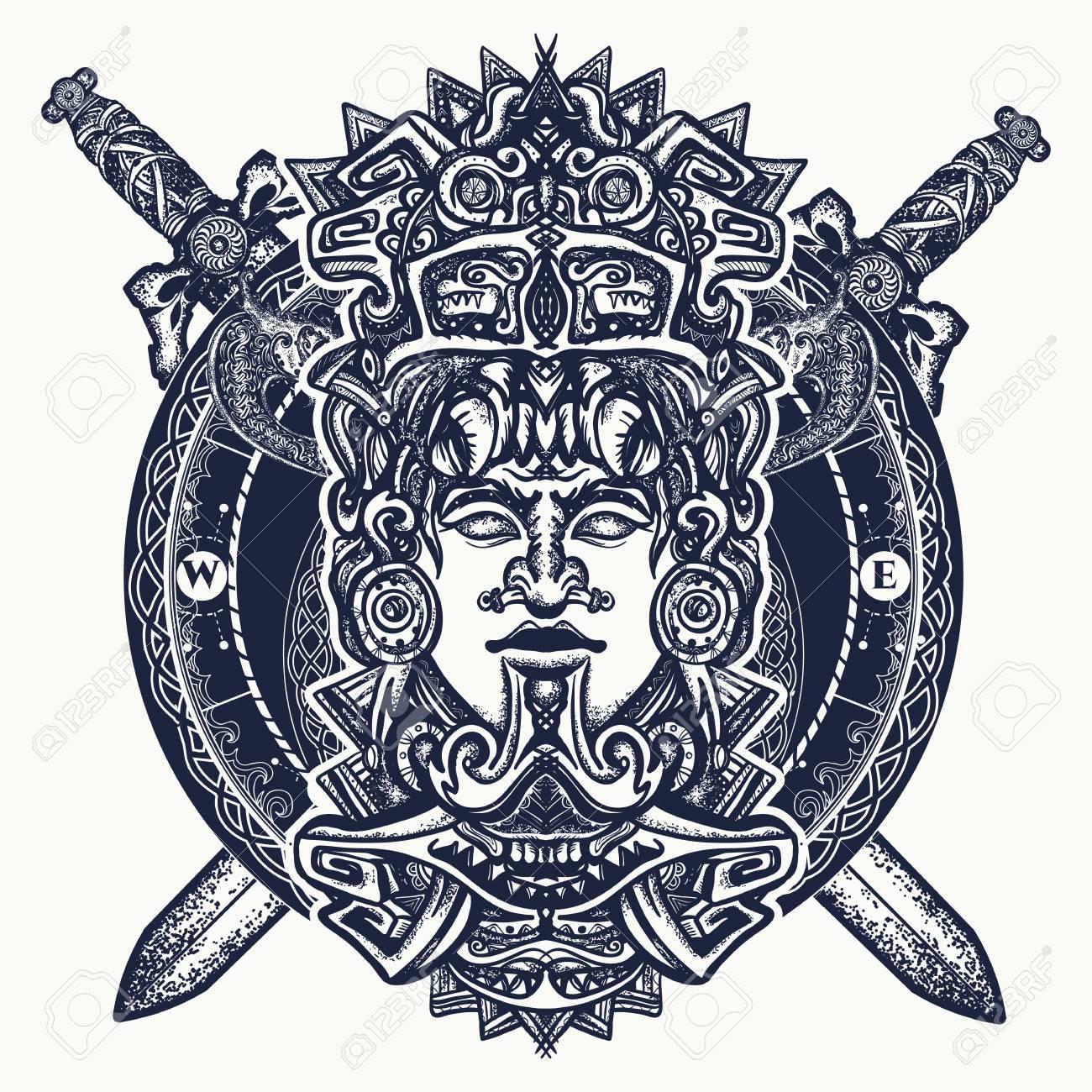 Tótem Azteca Antiguo Dios Guerrero Mexicano Y Espadas Cruzadas La