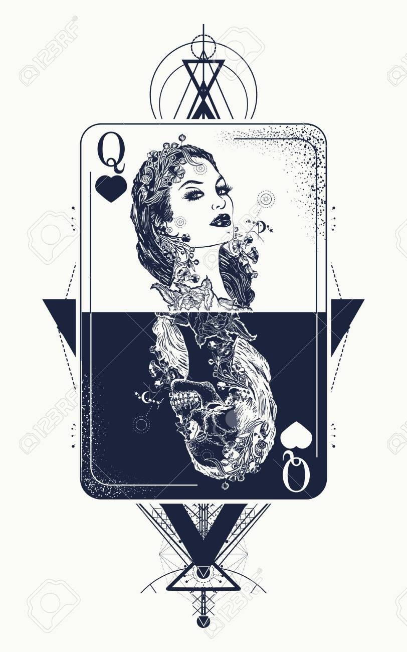 769747532 Queen playing card sacred geometry tattoo and t-shirt design. Tarot cards,  success