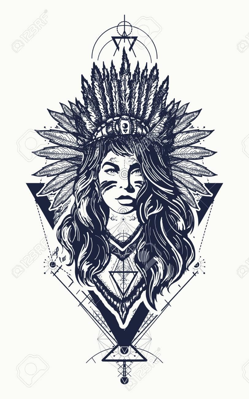 Diseño Tribal Del Tatuaje Y De La Camiseta De La Mujer India Mujer