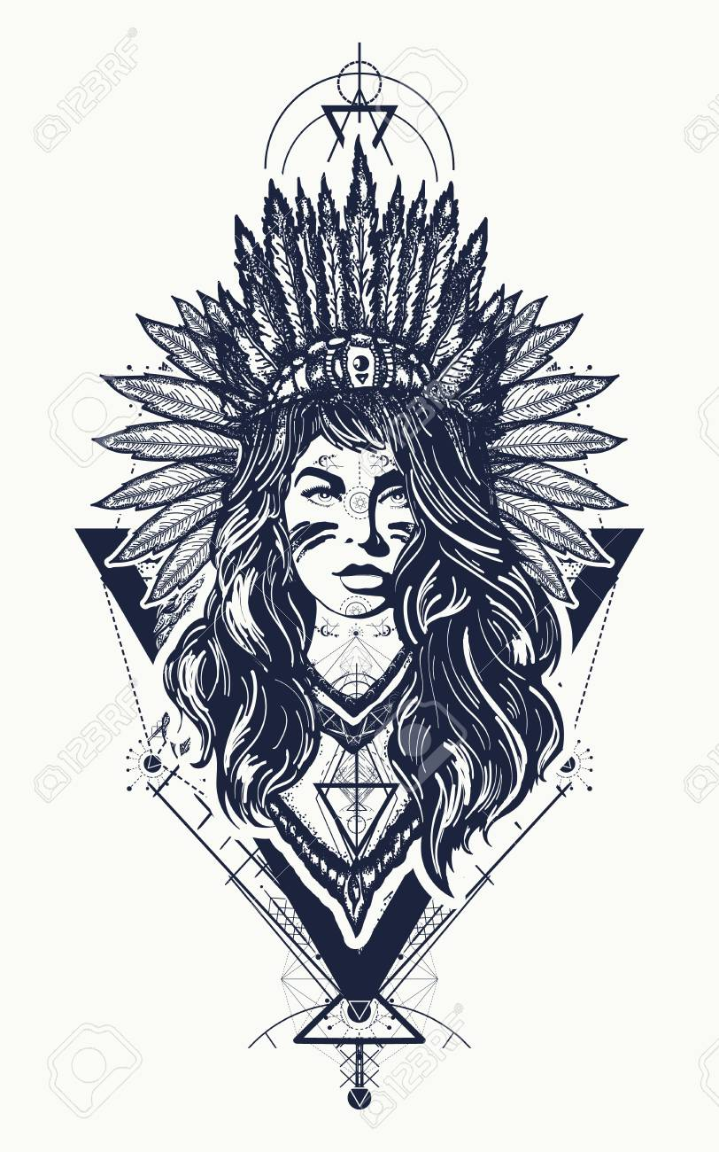 Tribal Indian Woman Tattoo And T Shirt Design Young Woman In