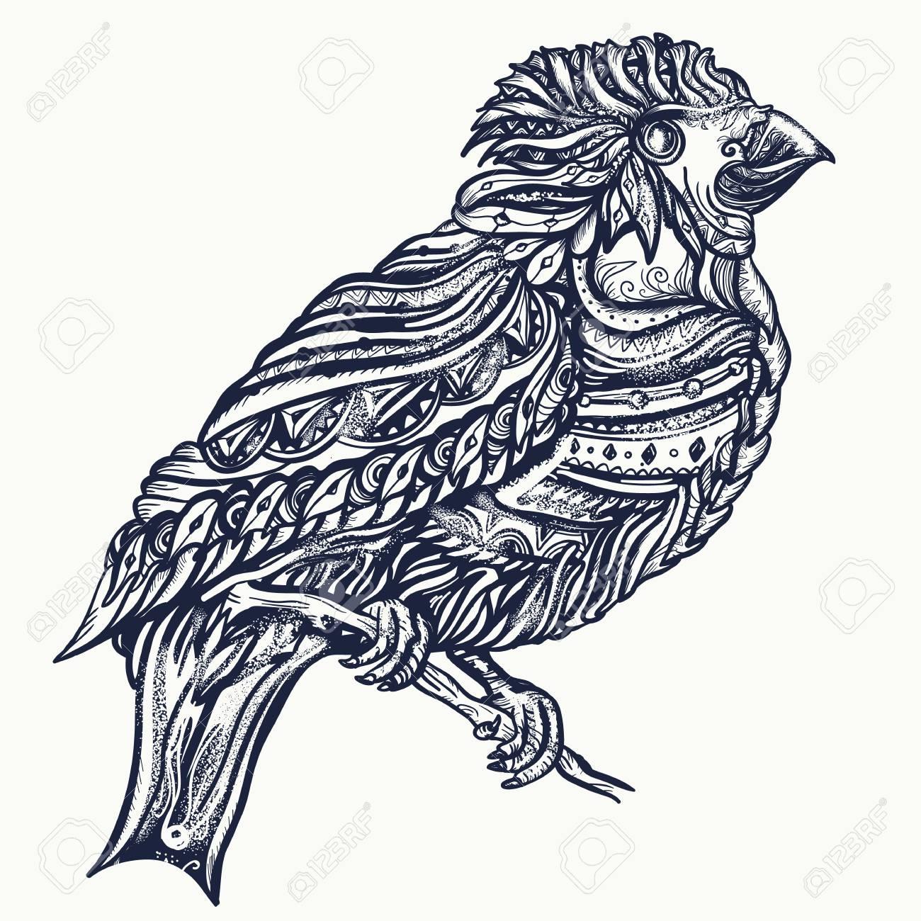 9e4910a74 Magic birds tattoo and t-shirt design. Cute ornaments bird on a brunch art
