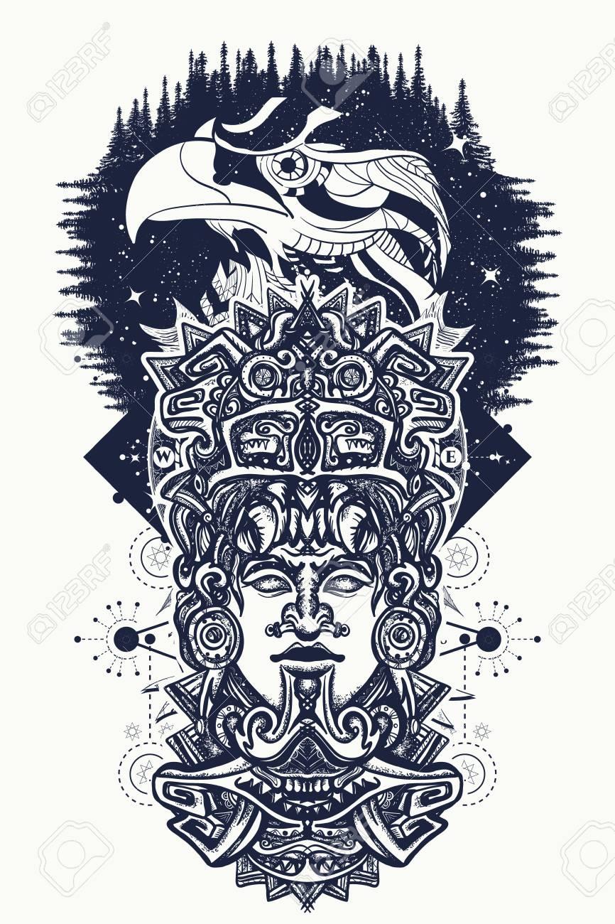 Pájaros Antiguos Del Tótem Y De águila Aztecas Dios Mexicano La