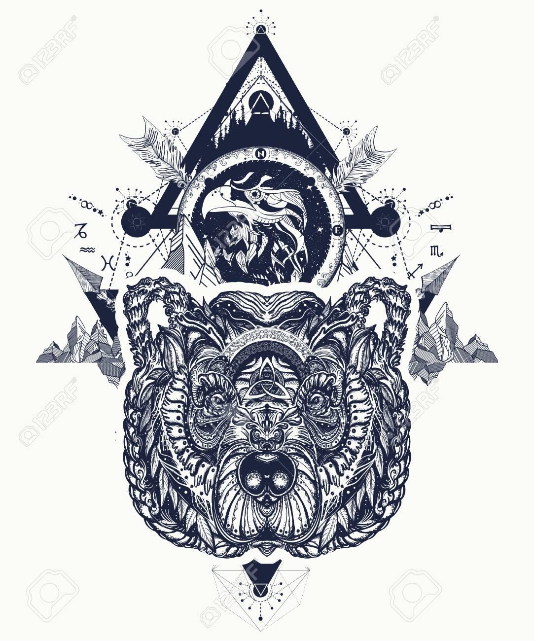 Eagle And Bear Tattoo Art Mountains Crossed Arrows Forest Spirituality Boho