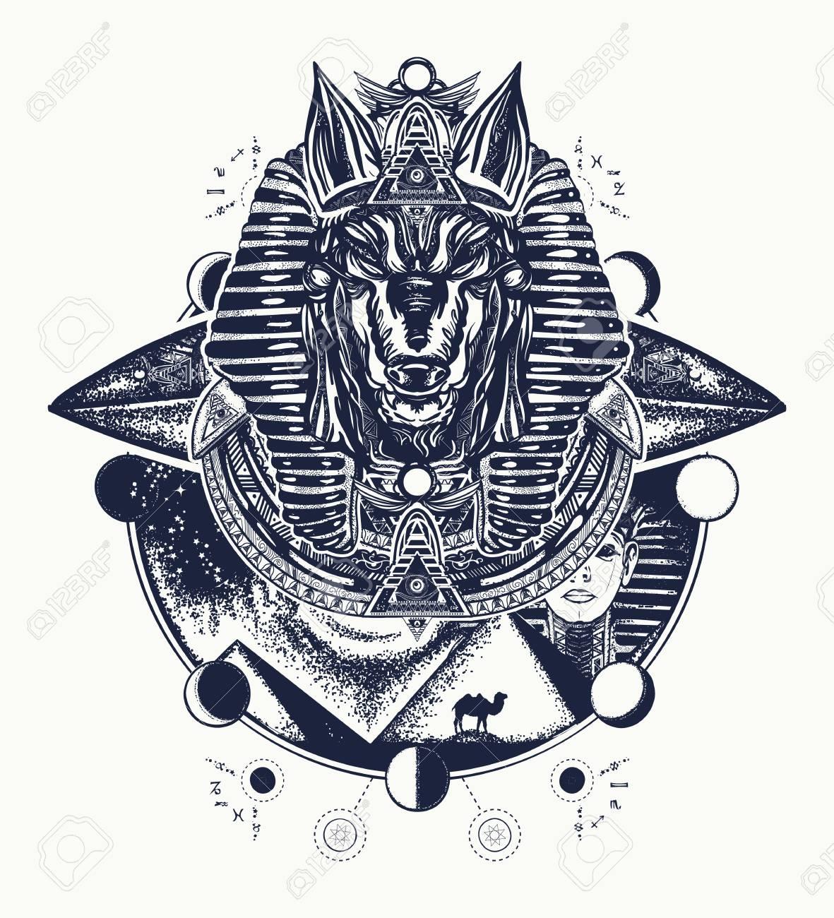 Diseño De Tatuaje Y Camiseta De Anubis Anubis Dios De La Guerra