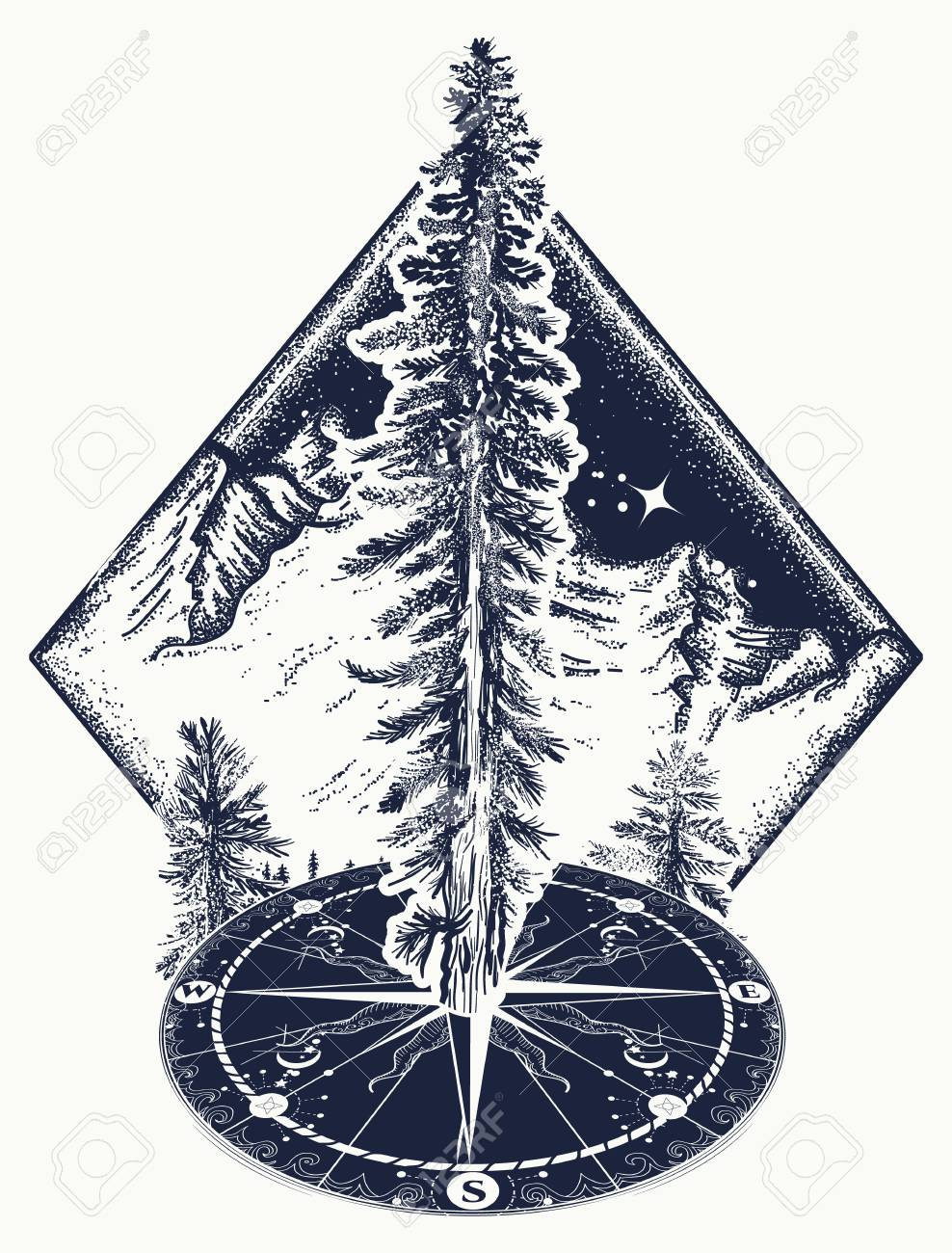 Pine Tree And Compass Tattoo Symbol Of Tourism Forest Rock