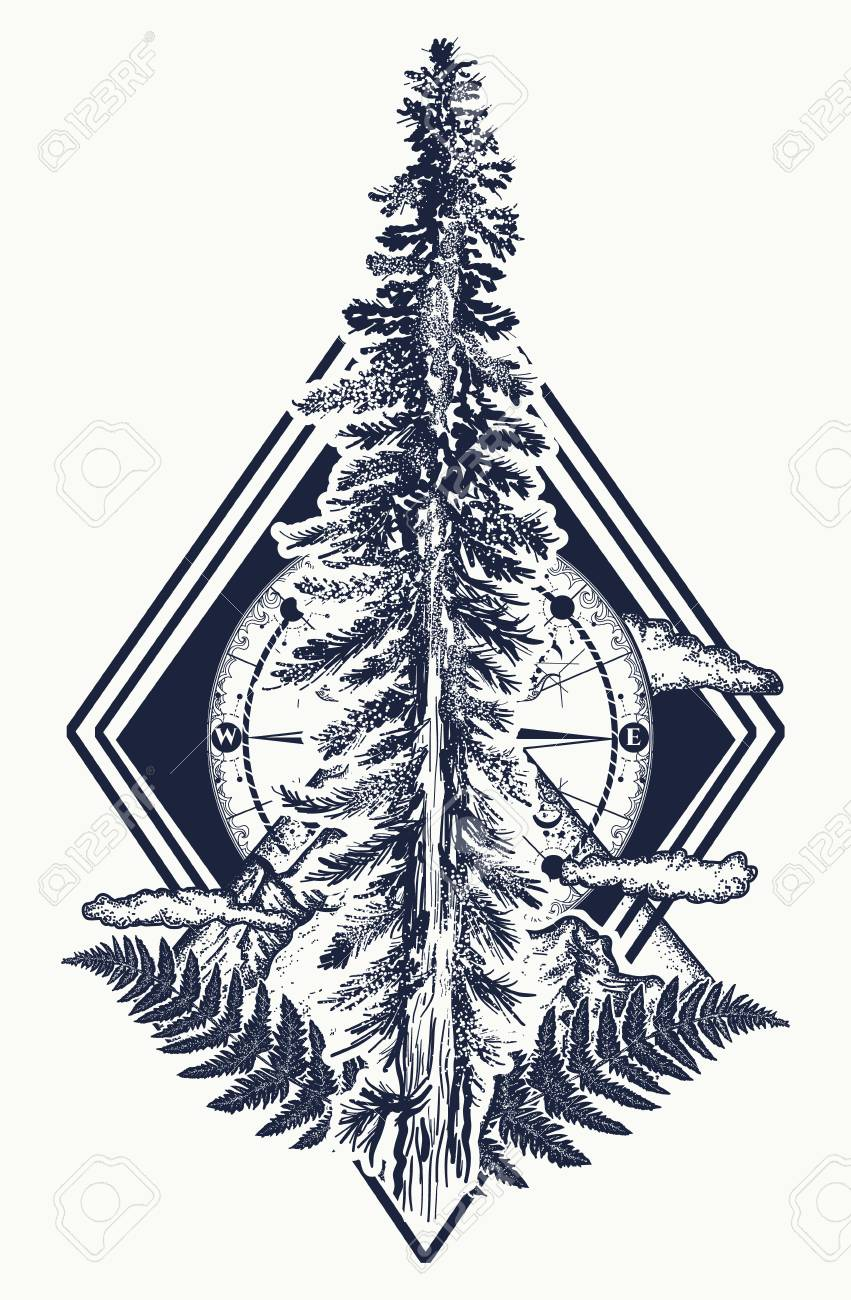 Pine Tree And Mountains Compass Tattoo Symbol Of Tourism Forest