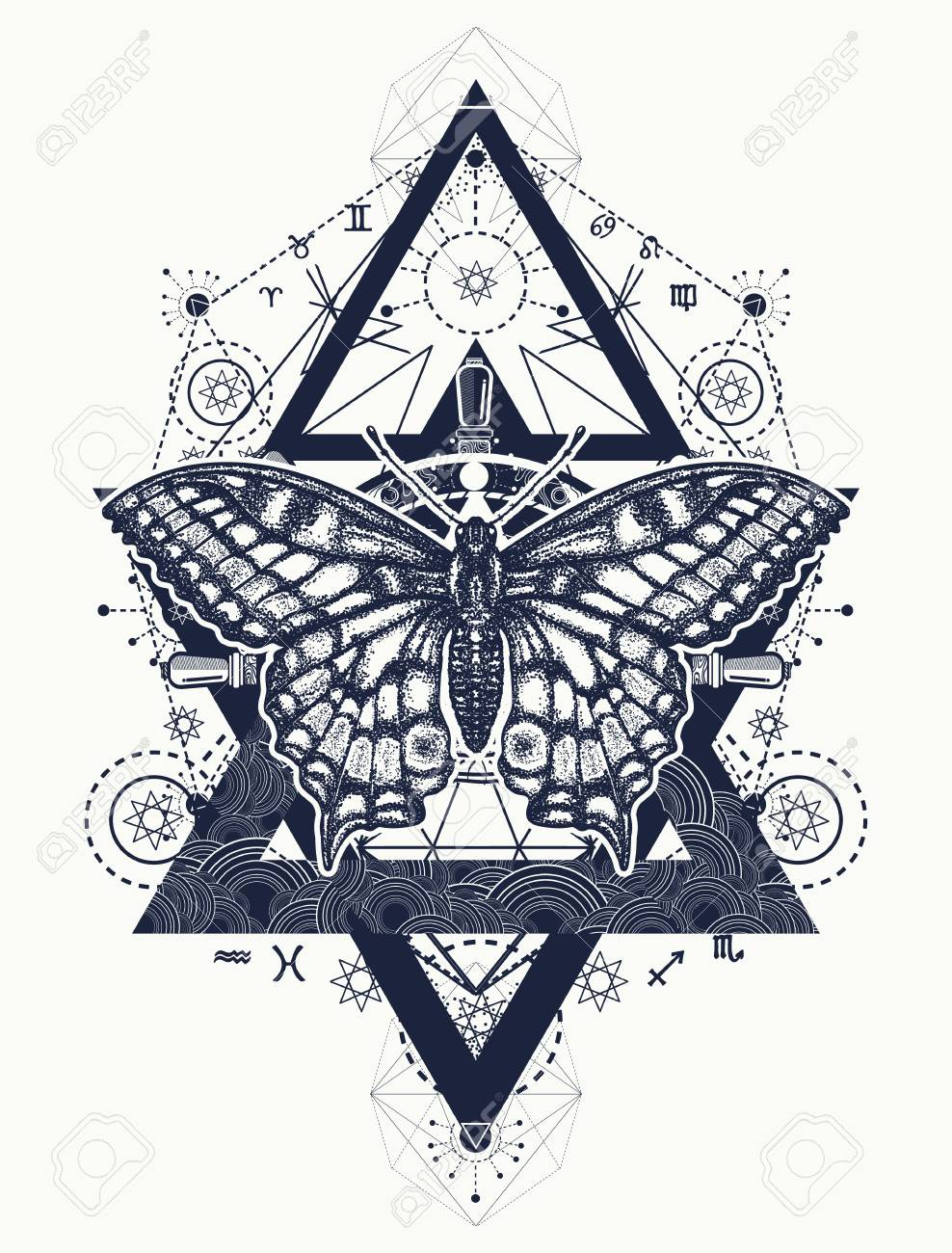5b319b63bc9e5 Beautiful Swallowtail boho t-shirt design. Butterfly tattoo, geometrical  style. Mystical symbol