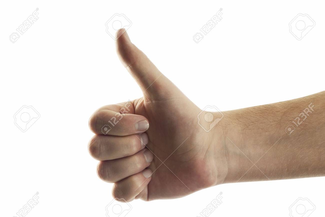 Hand giving thumbs up, close-up Stock Photo - 23675109