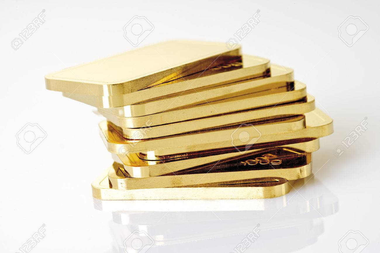 Gold bars on white background Stock Photo - 23675444