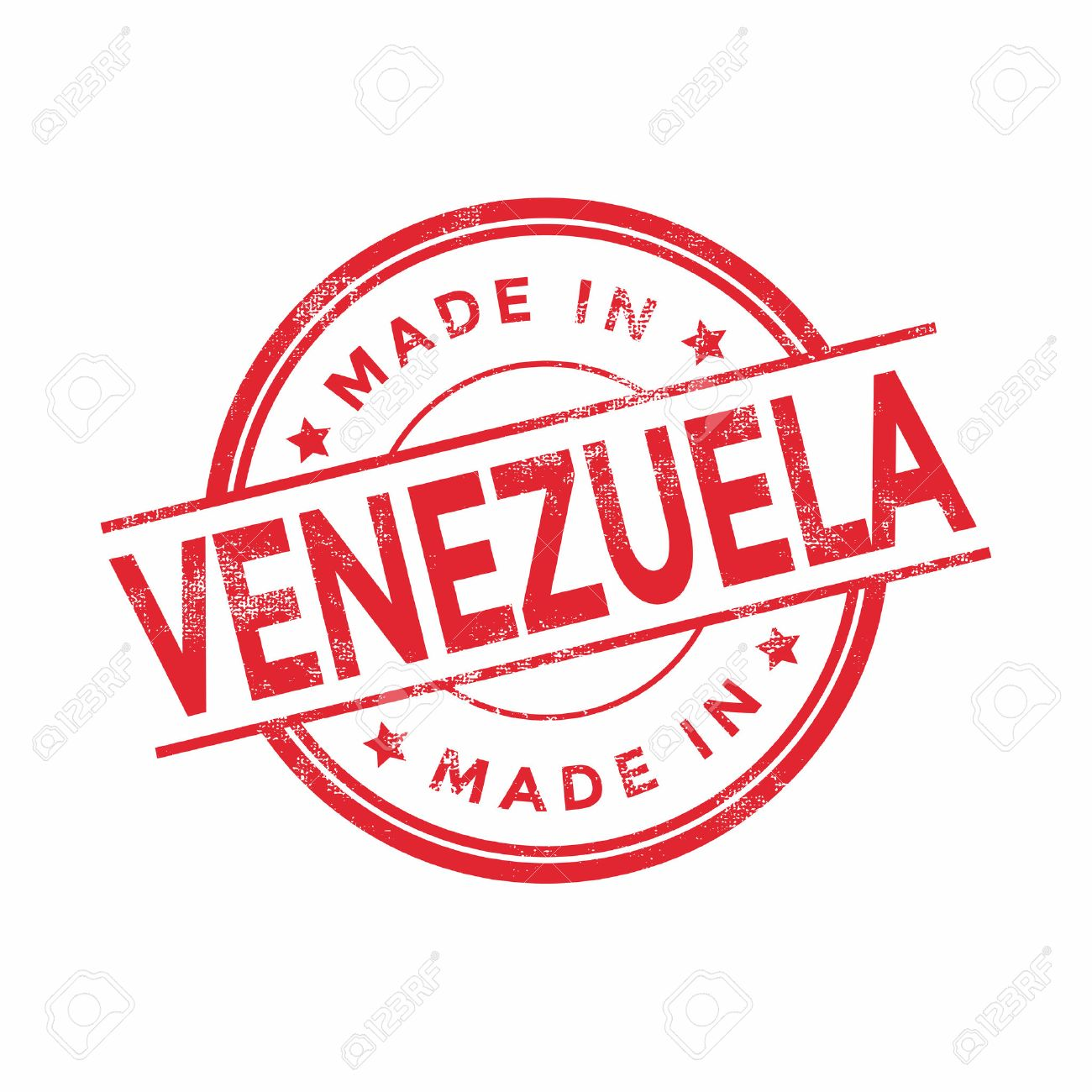Made In Venezuela Red Vector Graphic Round Rubber Stamp Isolated