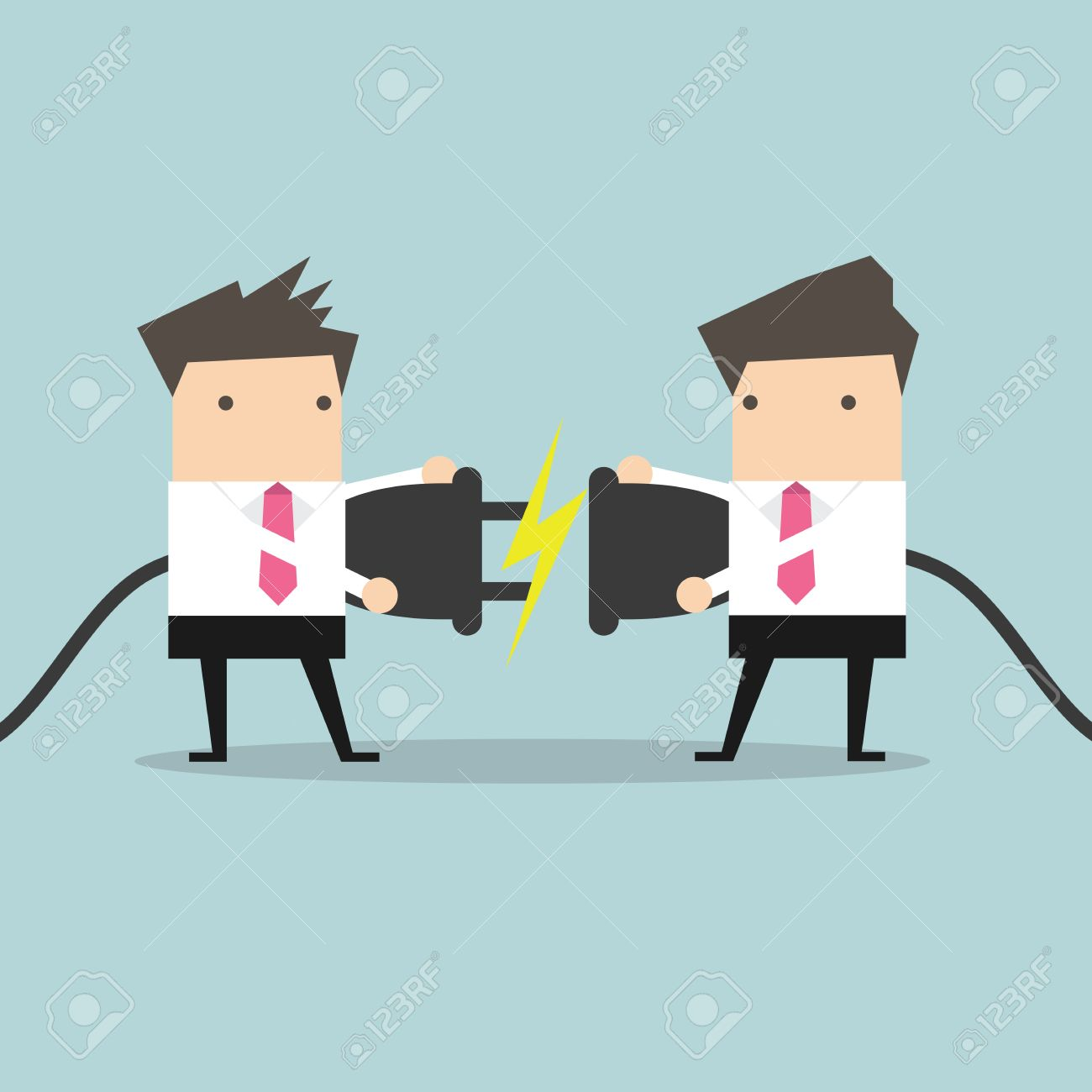 Two businessman trying to connect electric plug vector - 50967919