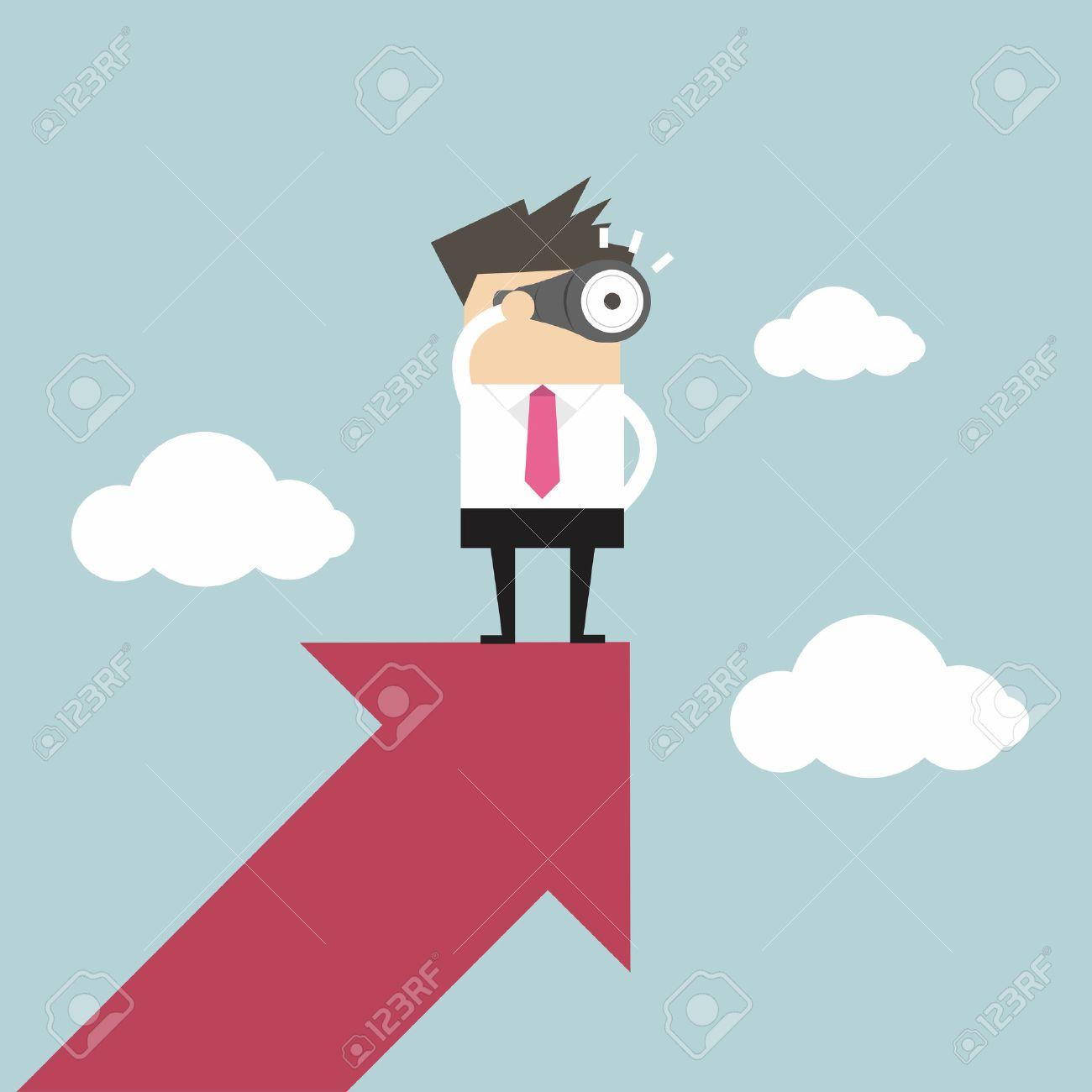 Businessman looks through a telescope on growth arrow - 50968015