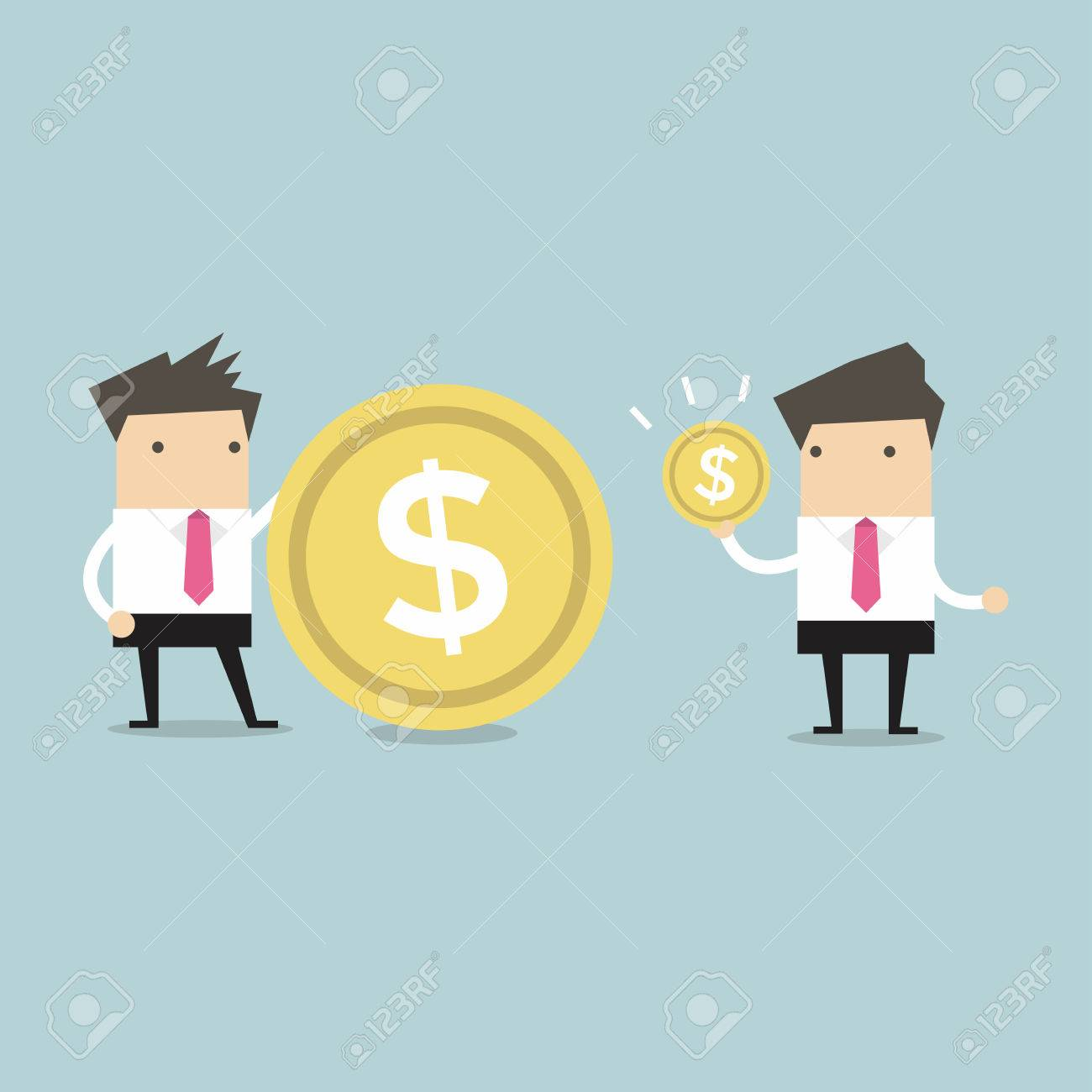 Businessmen comparing their income vector - 53893243