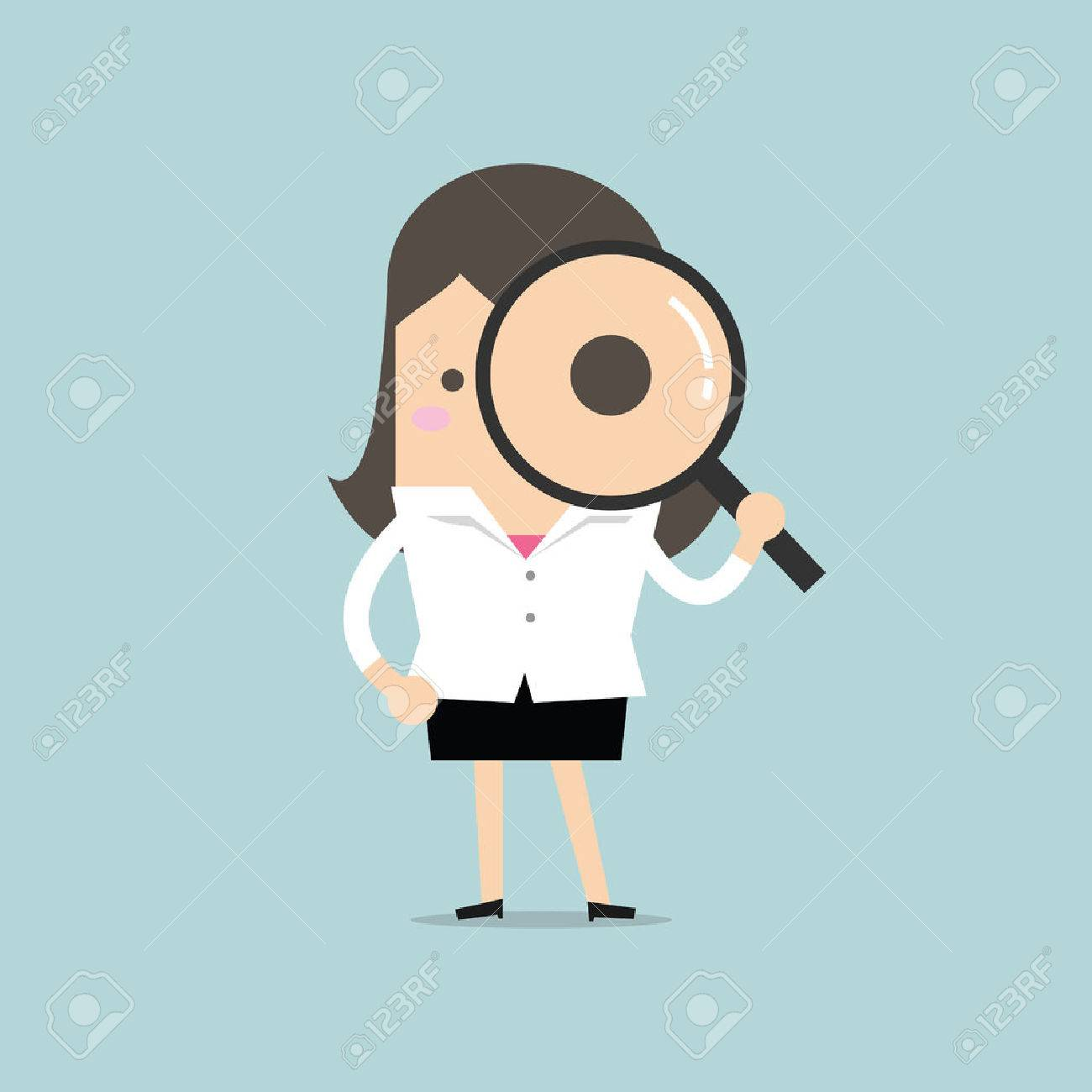 Businesswoman looking through a magnifying glass - 53893784