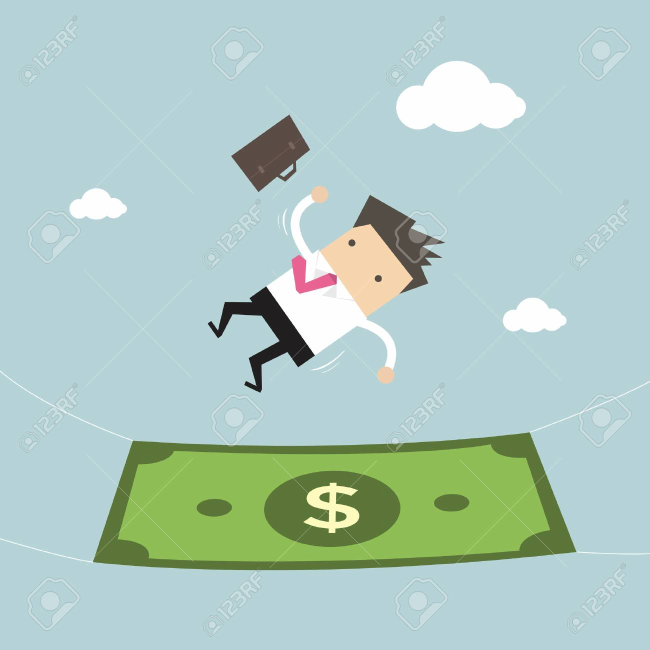 Businessman falling into a money banknote. Business concept - 53893791
