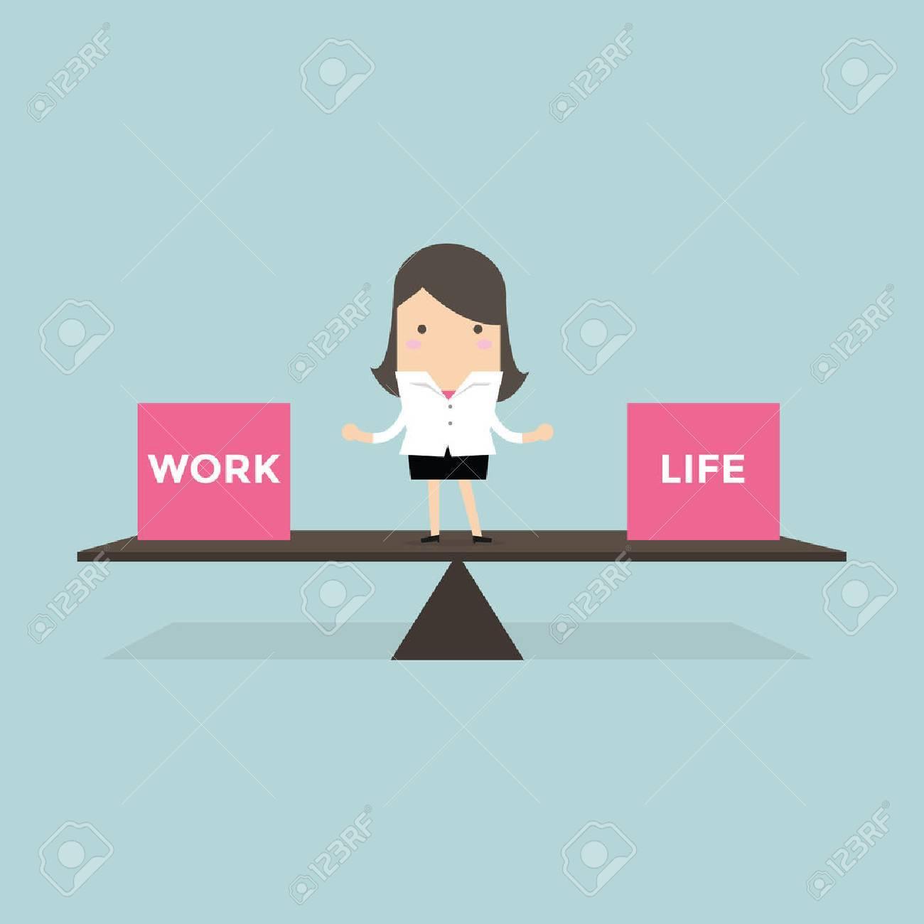 Businesswoman balance Work and life - 53893896