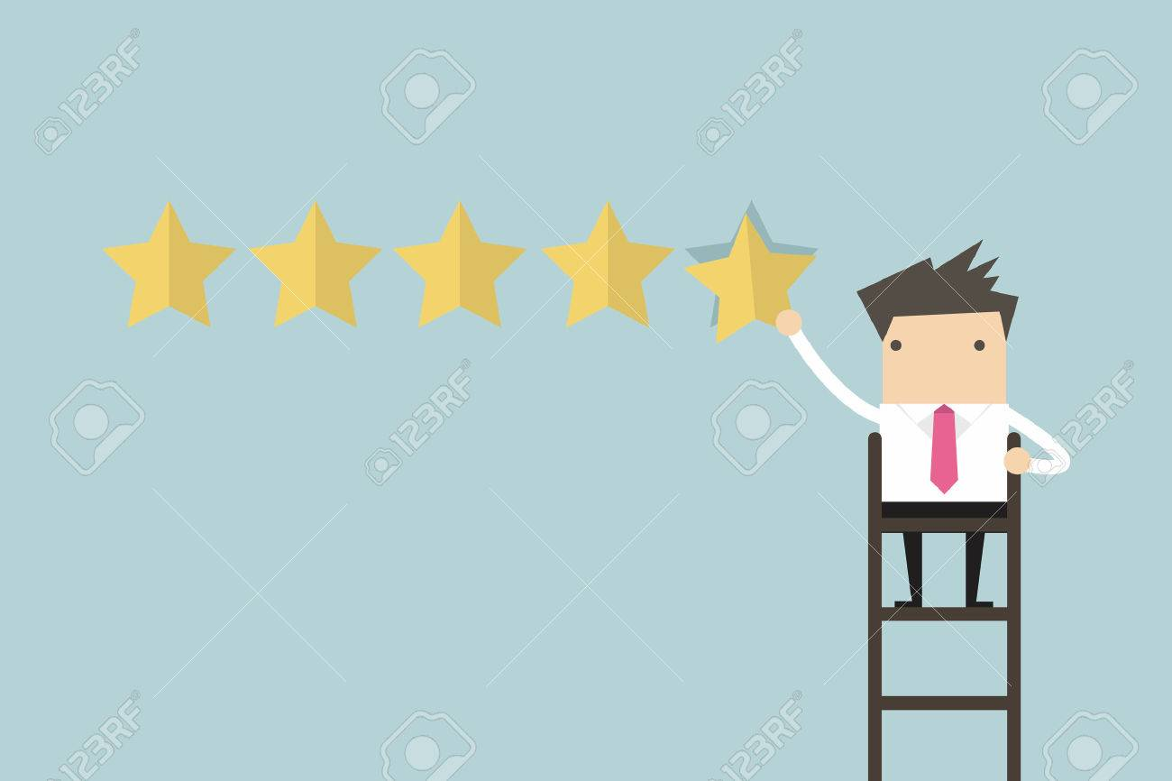 Businessman giving five star rating vector - 55924366