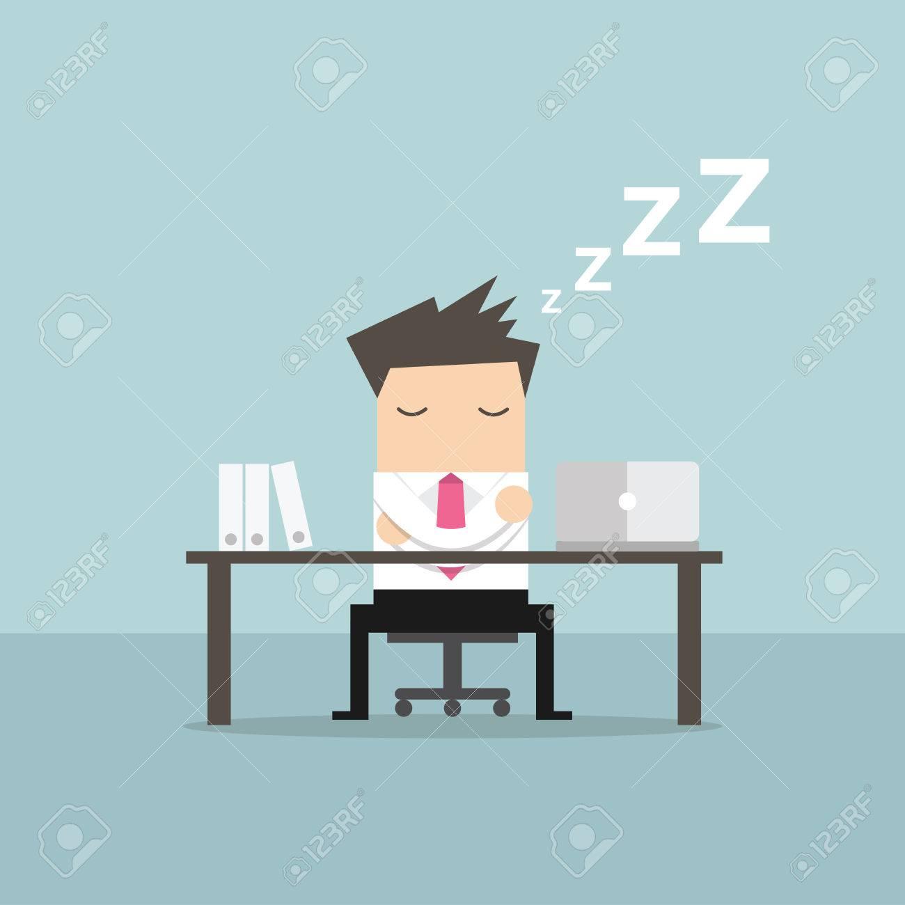 Businessman sleeping at works flat design vector - 58632924