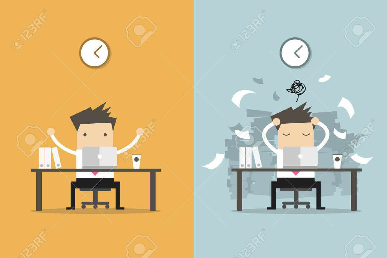 Businessman finish working and busy businessman unfinished work. Business concept cartoon vector. - 60388842