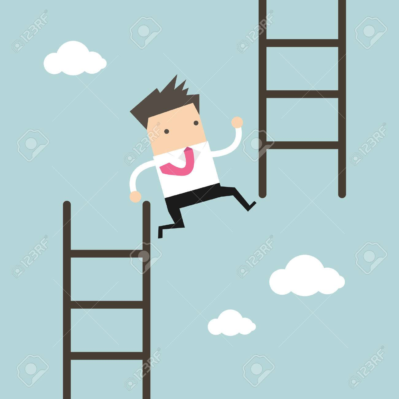 Businessman jump from low stair to high stair. vector - 60478709