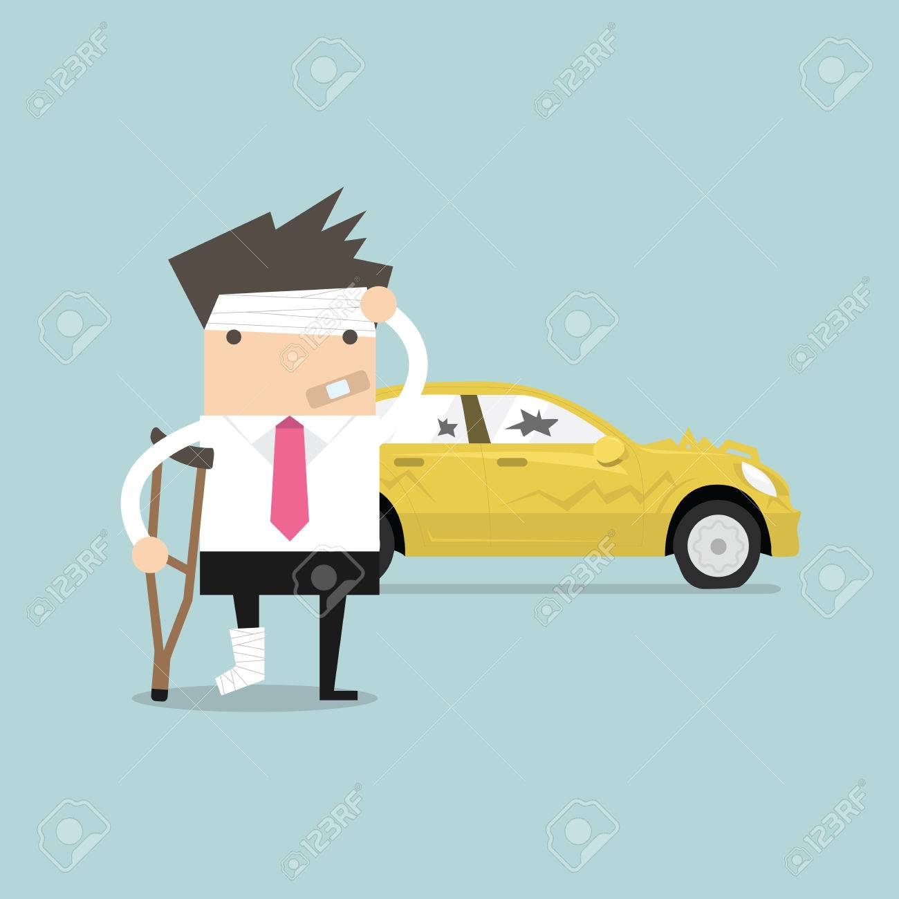 Businessman Be Injured With Car Accident Vector Royalty Free ...