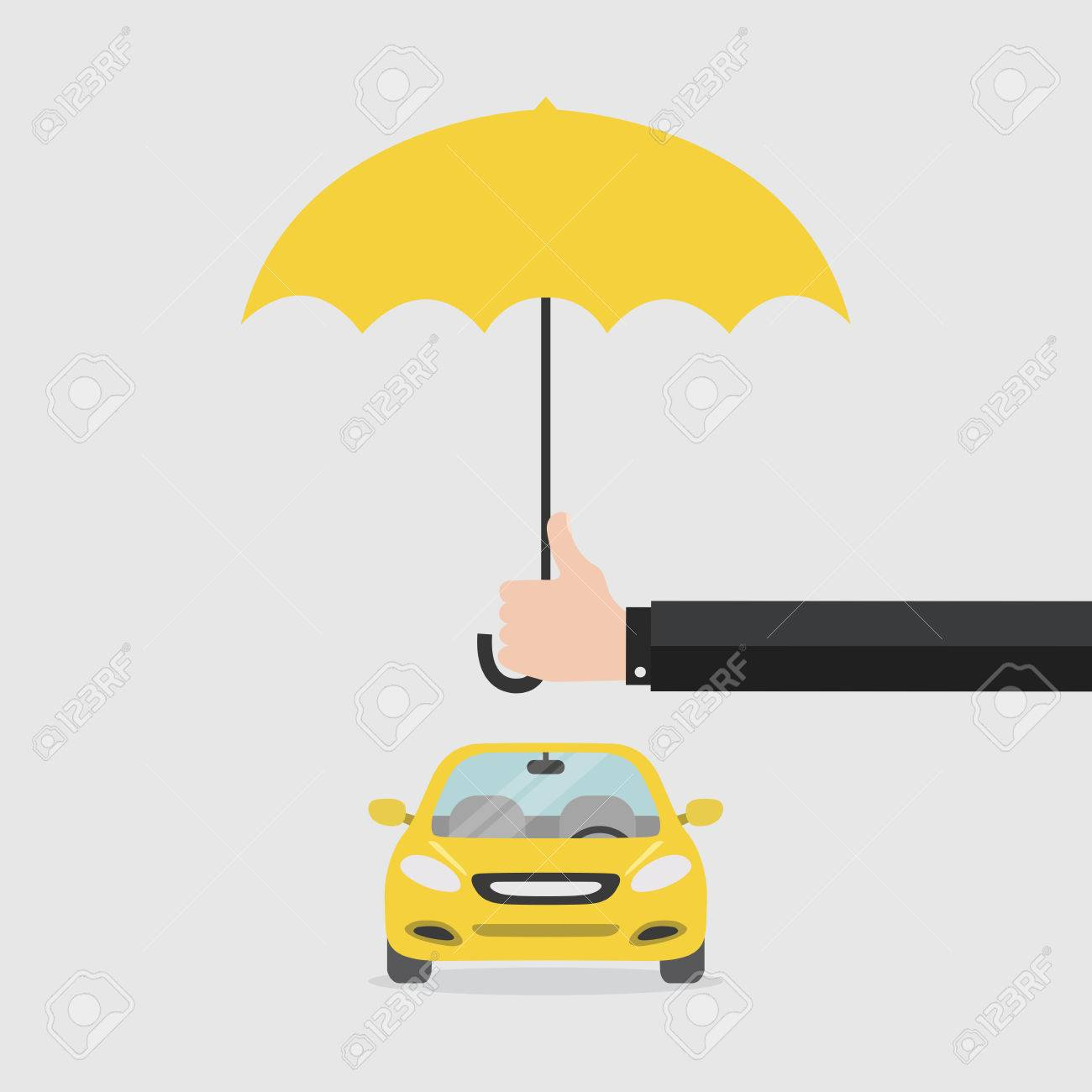 Hand Insurer With An Umbrella That Protects The Car Safety Concept