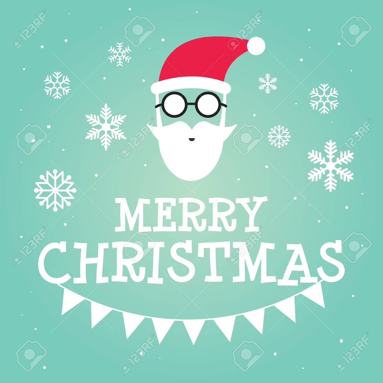 Hipster Santa Claus Greeting Card Or Invitation On Christmas