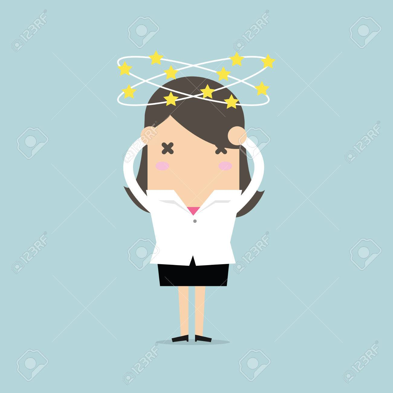 Businesswoman with stars spinning around his head. vector - 75250628