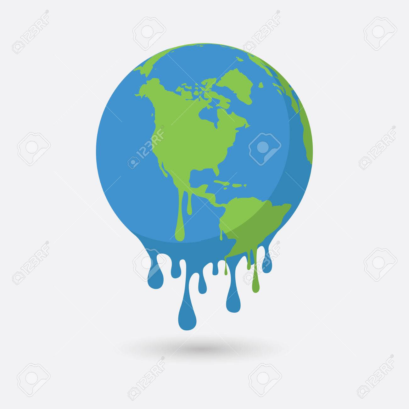 Global warming, Graphic illustration of a melting earth. - 75281302