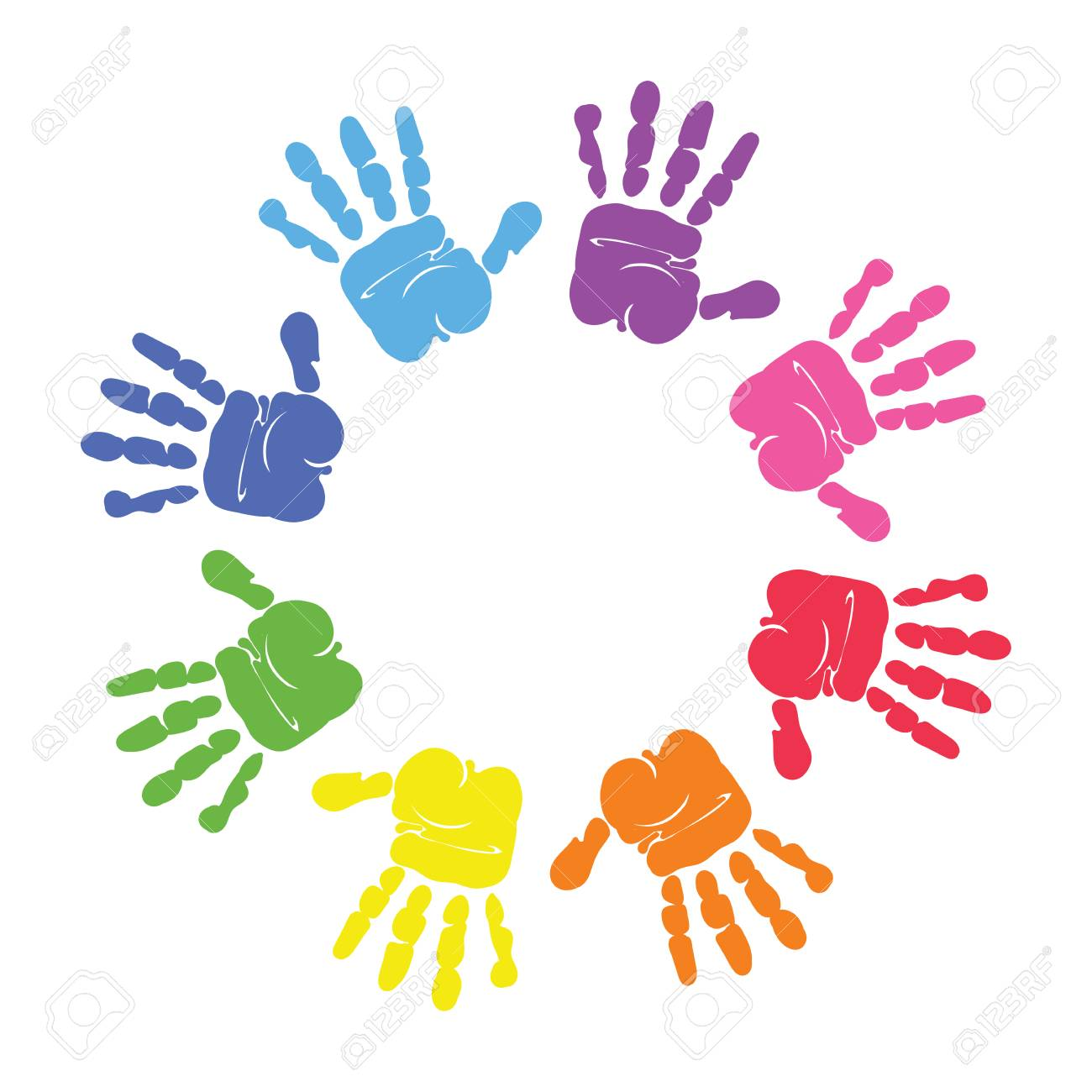 Circle Spiral Of Colorful Hand Prints Made By Children Isolated ...
