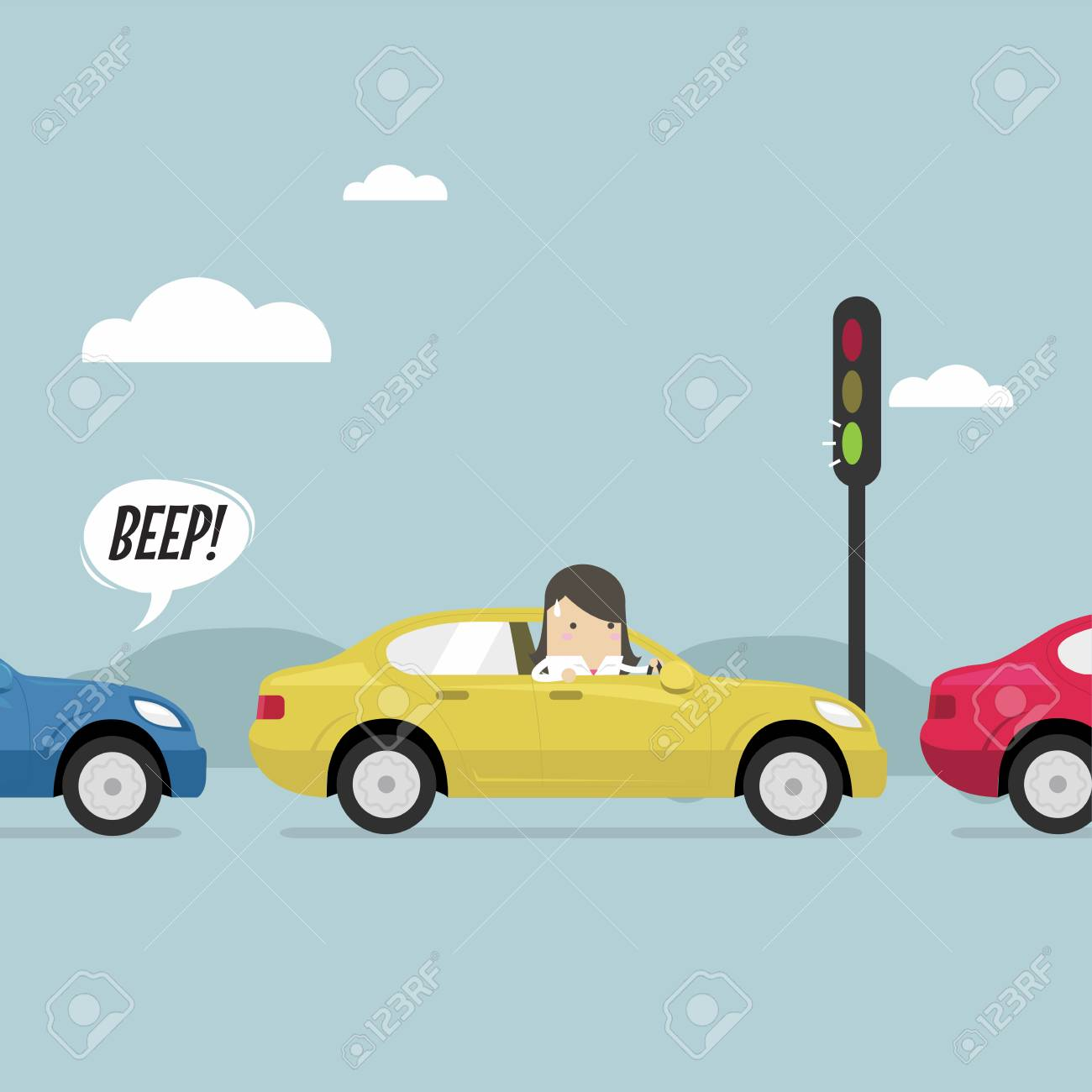 Businesswoman on the road with traffic jam, Green traffic light, honk a horn. - 94370015