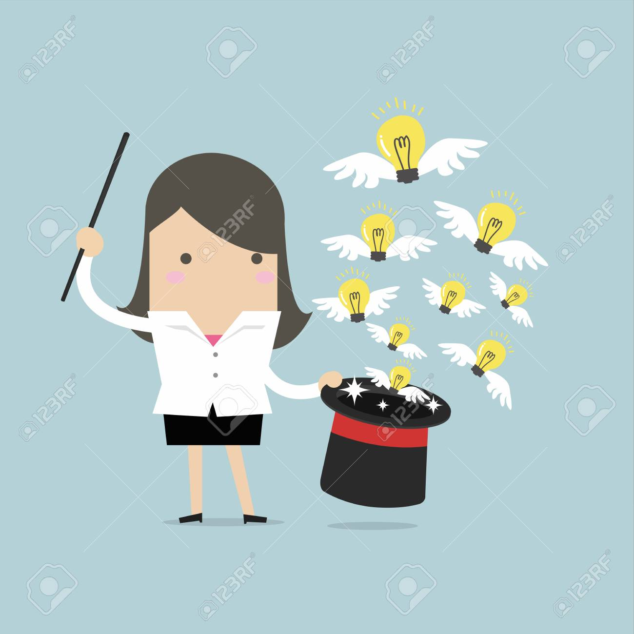 businesswoman holding a magic stick and spell casting idea bulbs