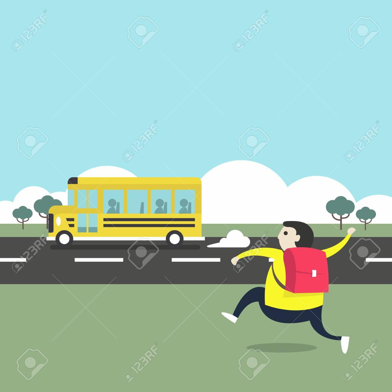 A boy running after a school bus. - 106273909