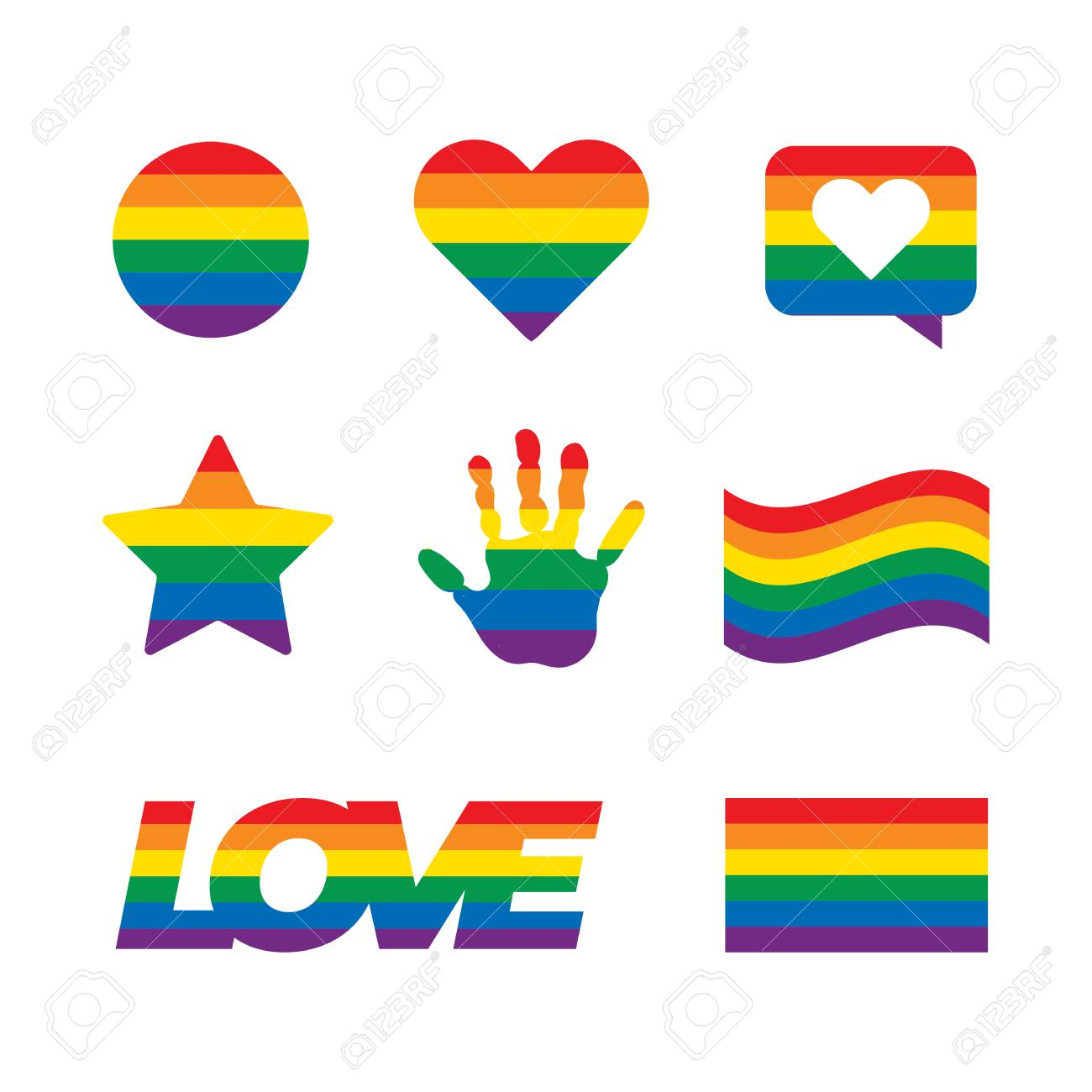 LGBT related symbols set in rainbow colors. Pride, freedom flags, hearts. - 126250282