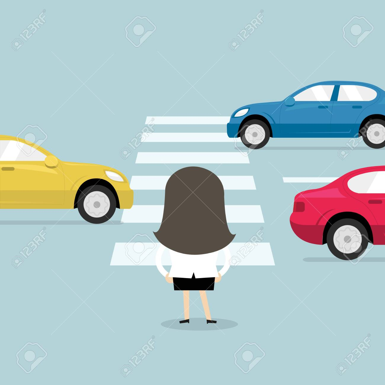 Businesswoman waiting to cross the road at the crosswalk. - 137761114