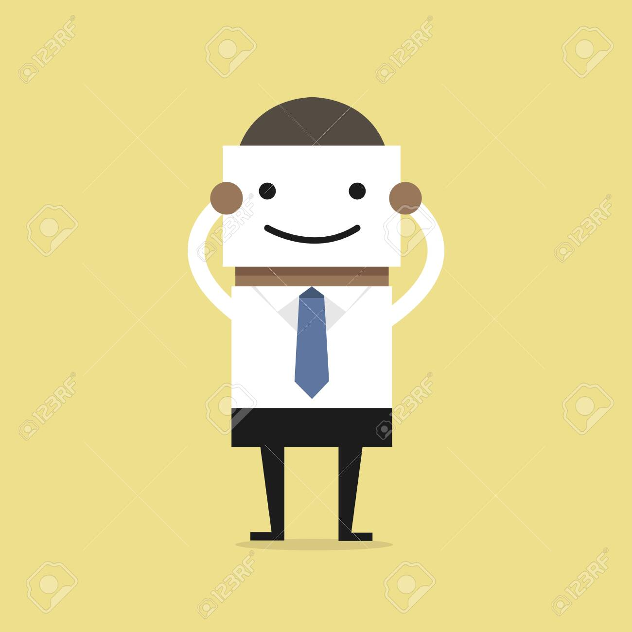 African businessman hide his real face by holding smile mask. - 142935984