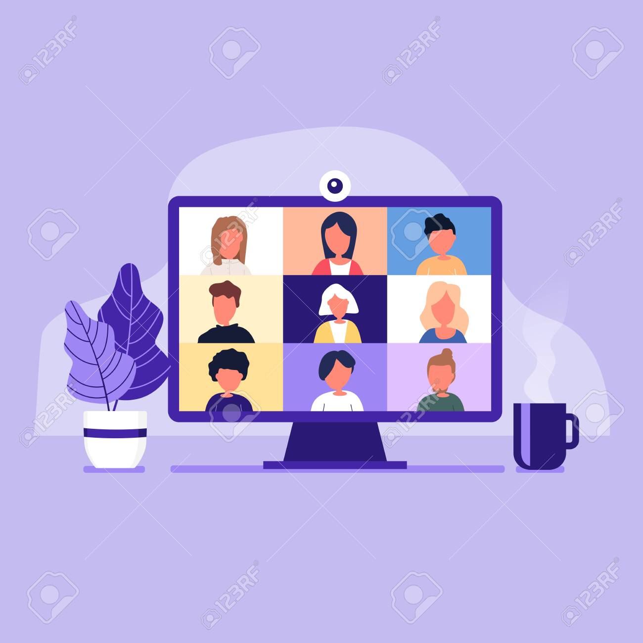 Colleagues talk to each other on the computer screen. Conference video call, working from home. - 143493927