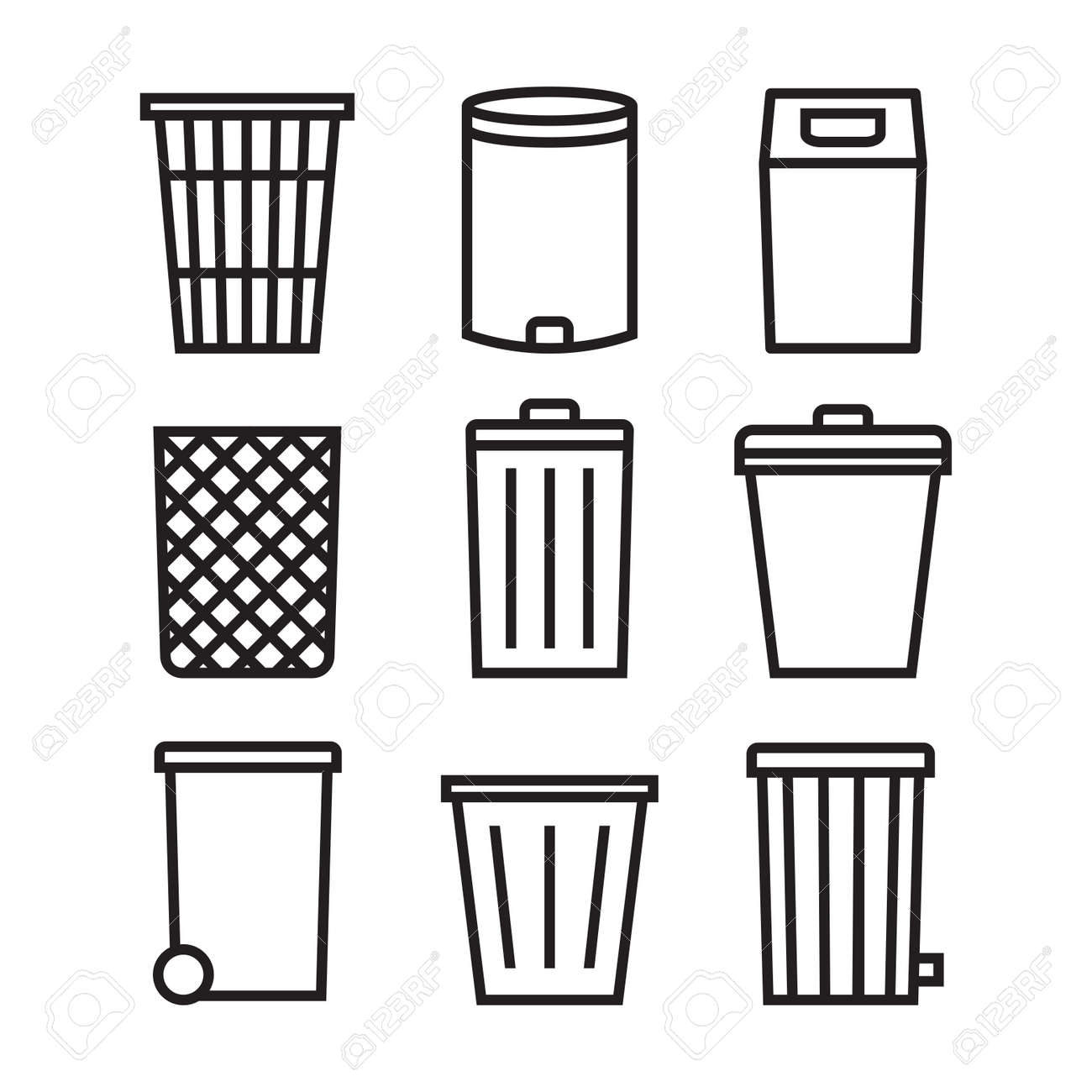 Trash can icon set. Trash can line icons collection for web apps and mobile concept. - 162821035