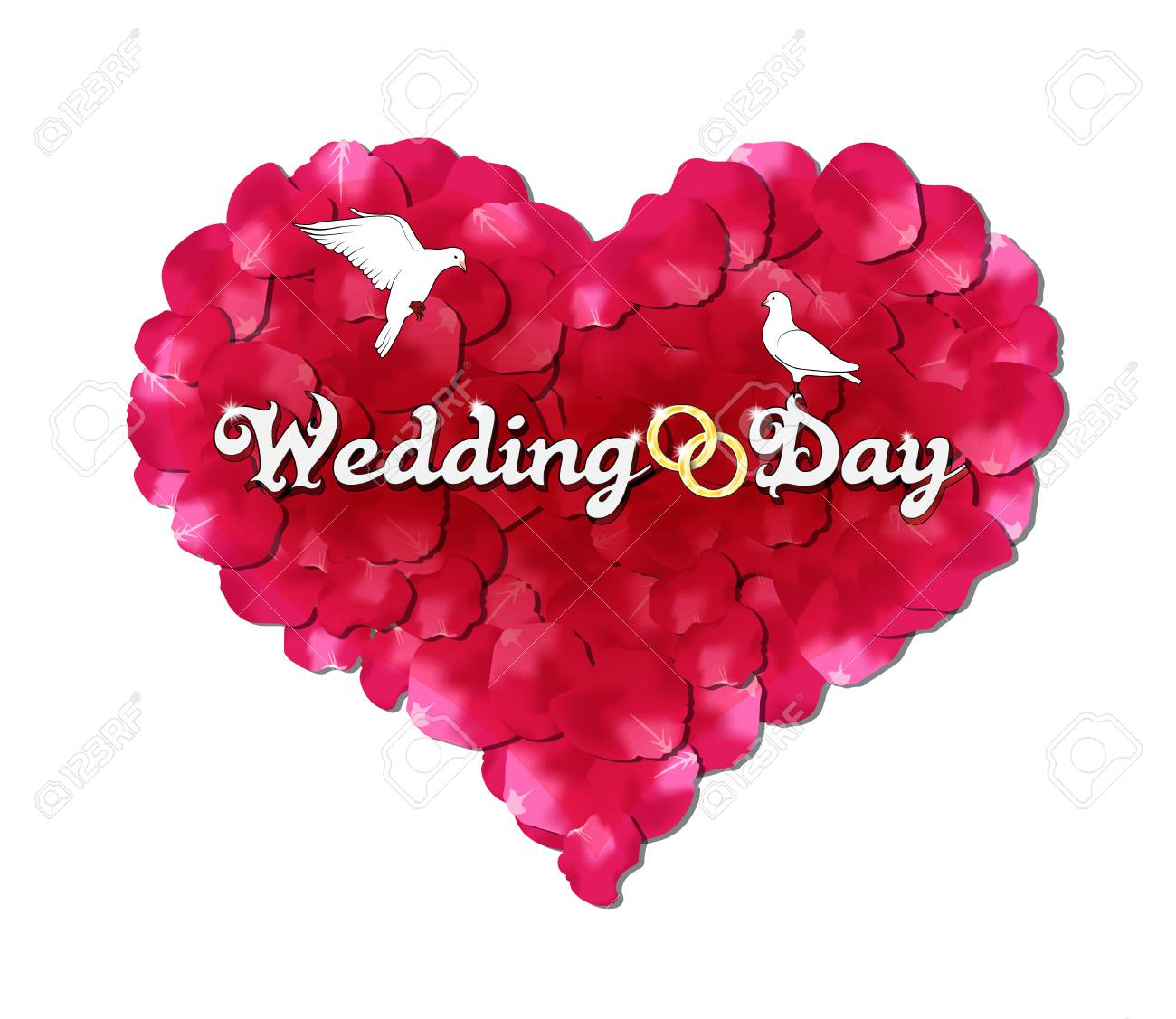 Wedding Day, The Heart Of Rose Petals, Doves And Rings Royalty Free ...