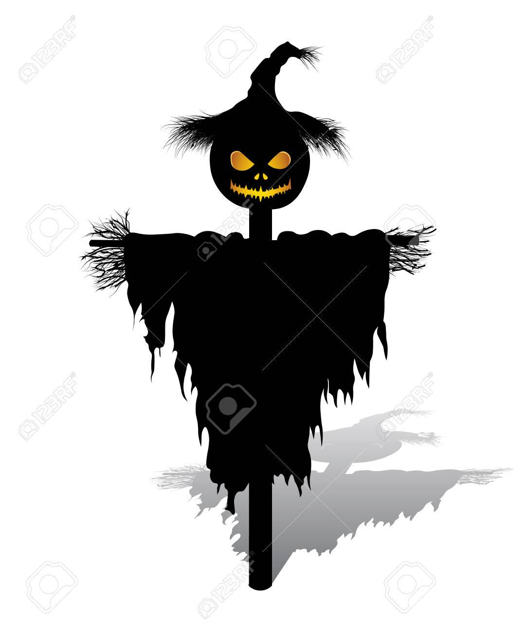 Vector Vector Halloween Scarecrow With Pumpkin For Head