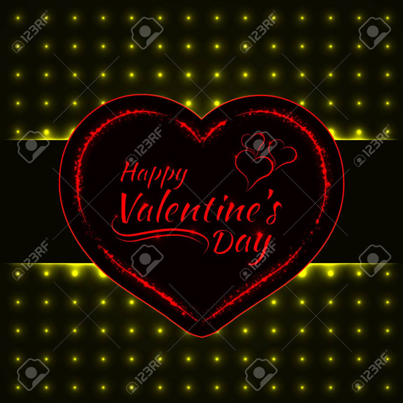 Happy Valentines Day Yellow Lights Card Heart And Text Lights