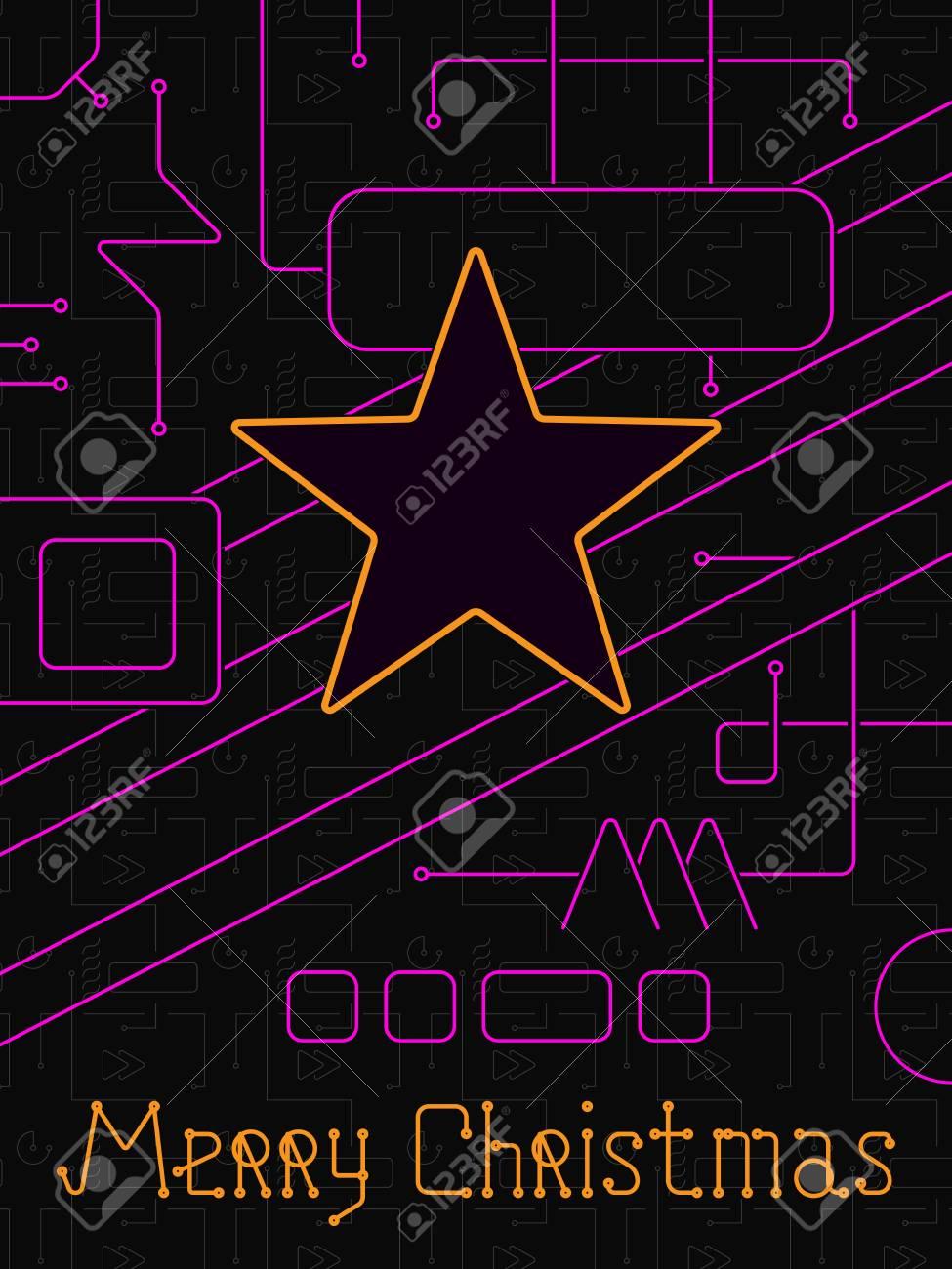 Joyeux Noel Techno.Carte De Voeux Joyeux Noel Vacances Lignes De Geometrie Style Art Techno Dessin Au Trait