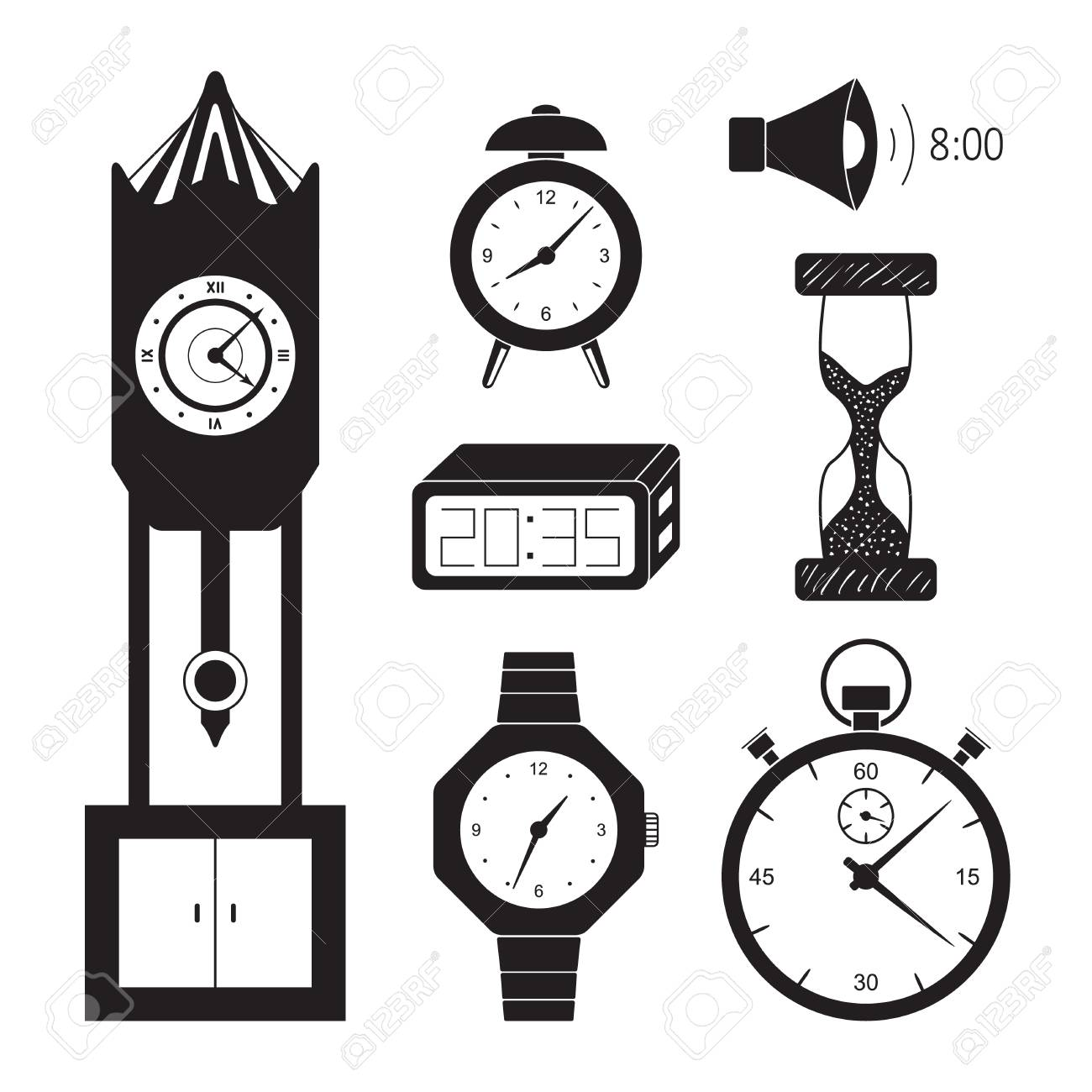 Clocks icon set vector  Retro and modern clock collection  Alarm