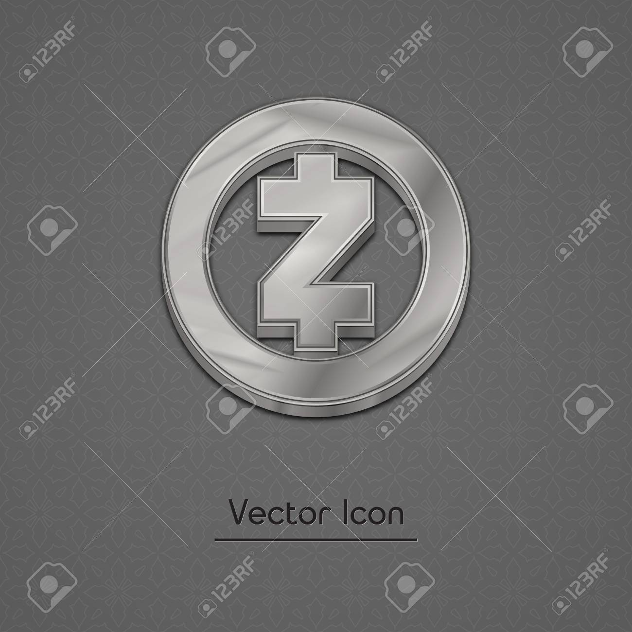 Silver Zcash Coin Symbol Isolated Web Vector Icon Trendy 3d Style